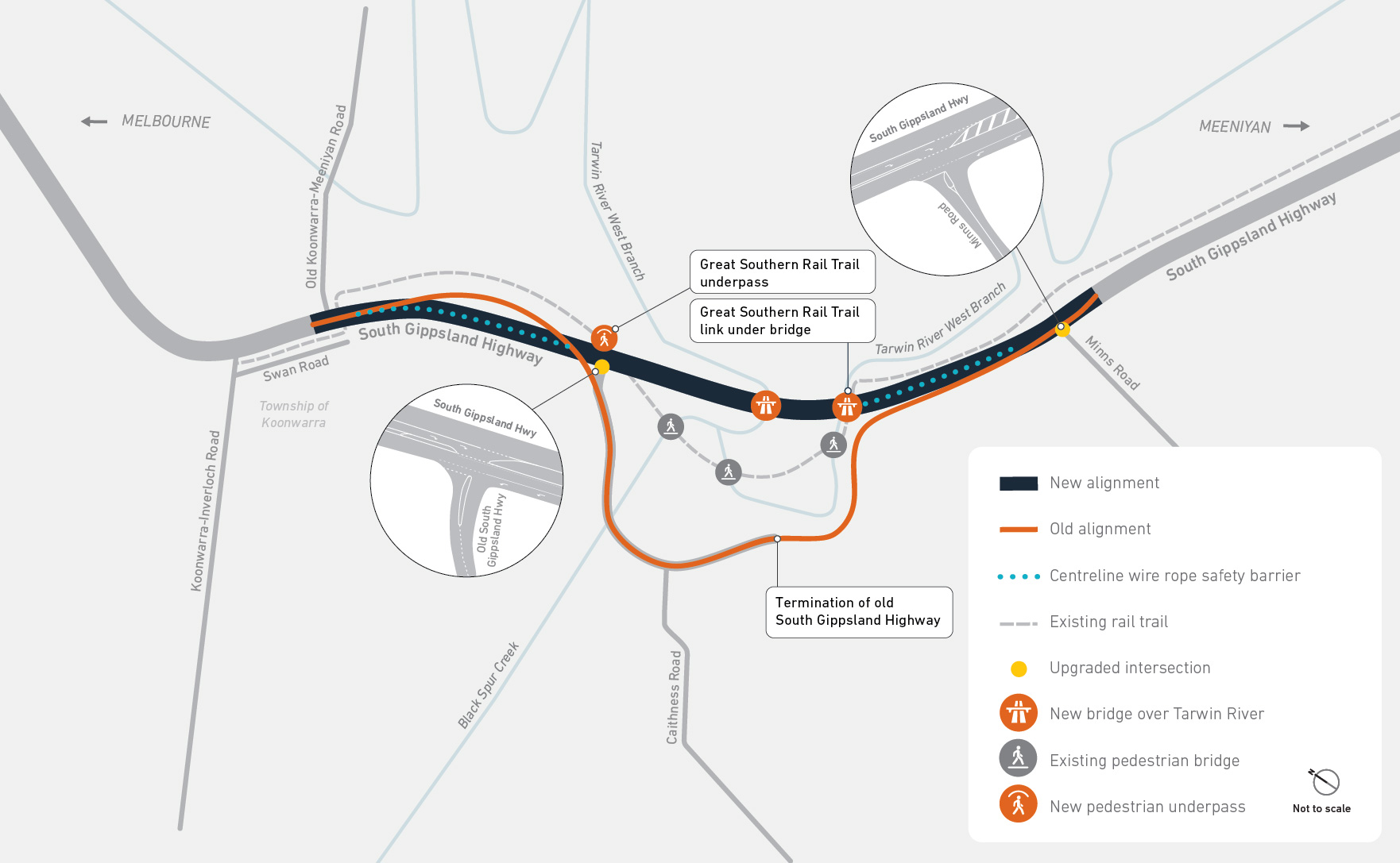Final design of the new South Gippsland Highway alignment including the upgraded intersections at Minns Road and the Old South Gippsland Highway, the new bridges over the Tarwin River and new pedestrian underpass where the Great Southern Rail Trail crosse