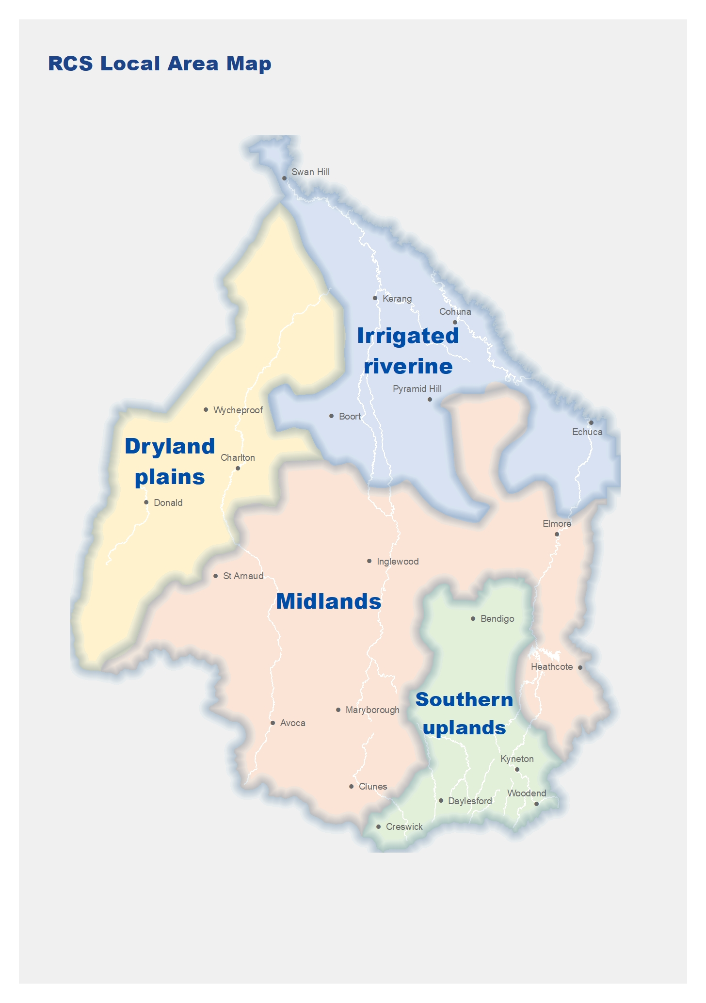 This is a map of the Regional Catchment Strategy local areas that show Irrigated riverine at the north, Midlands in the centre, Dryland plains in the north west and southern uplands in the south