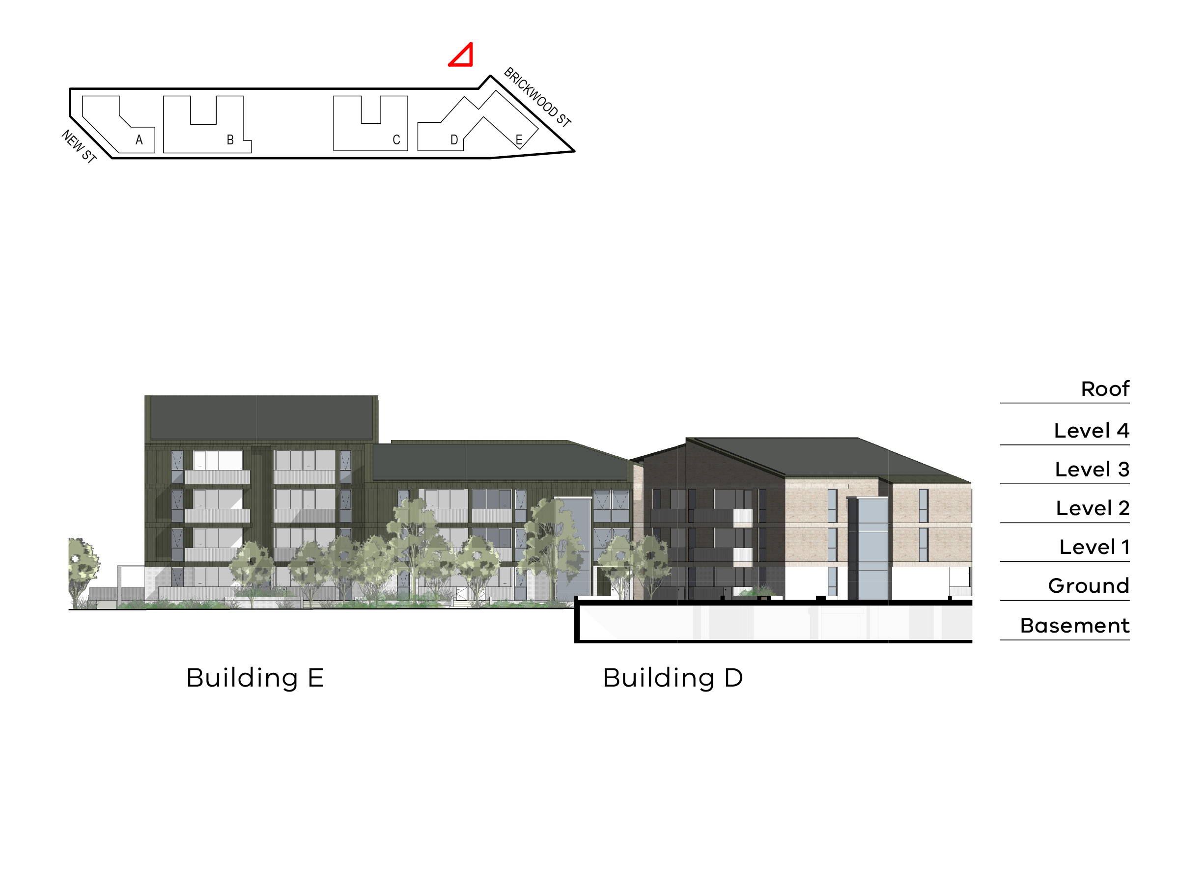 Diagram showing the heights of buildings D and E as seen from the top of the site near Brickwood Street. Building D includes basement, ground level, level 1-2 and a roof, building E includes ground level, level 1-3 and a roof.