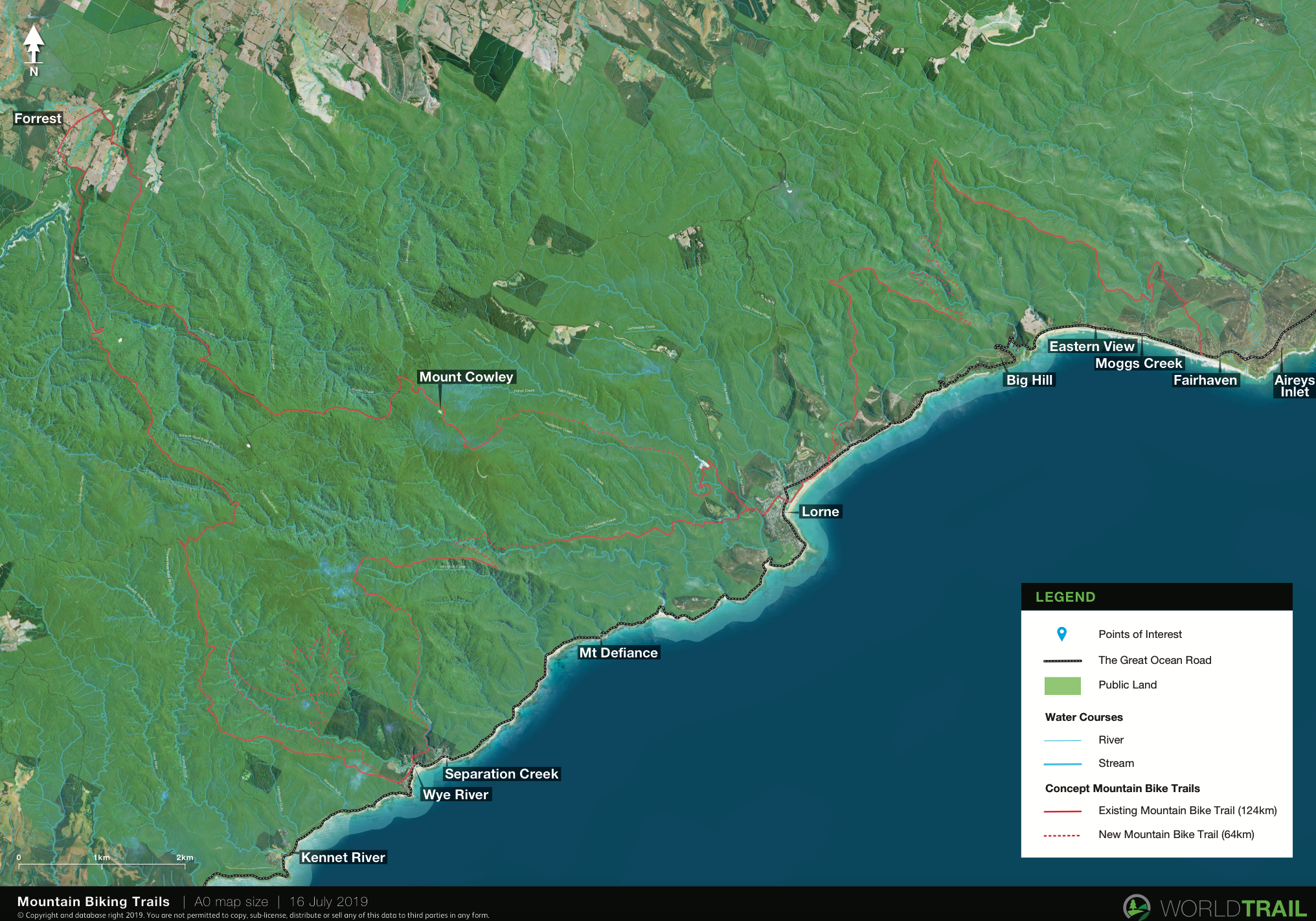 Draft concept map for mountain biking trails that connect with Forrest, Fairhaven, Lorne and Wye River in the Great Ocean Road region