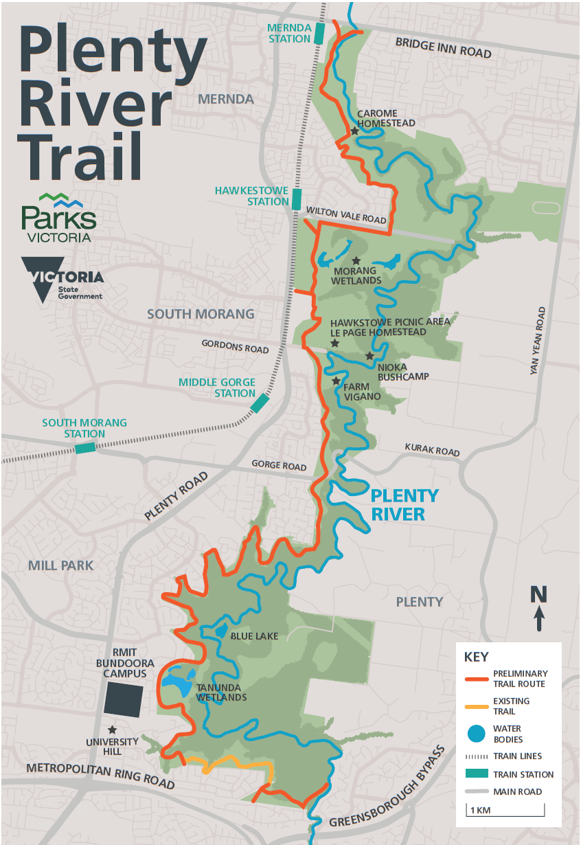 Image showing a map of the proposed trail from Doreen to Bundoora along the western side of the park