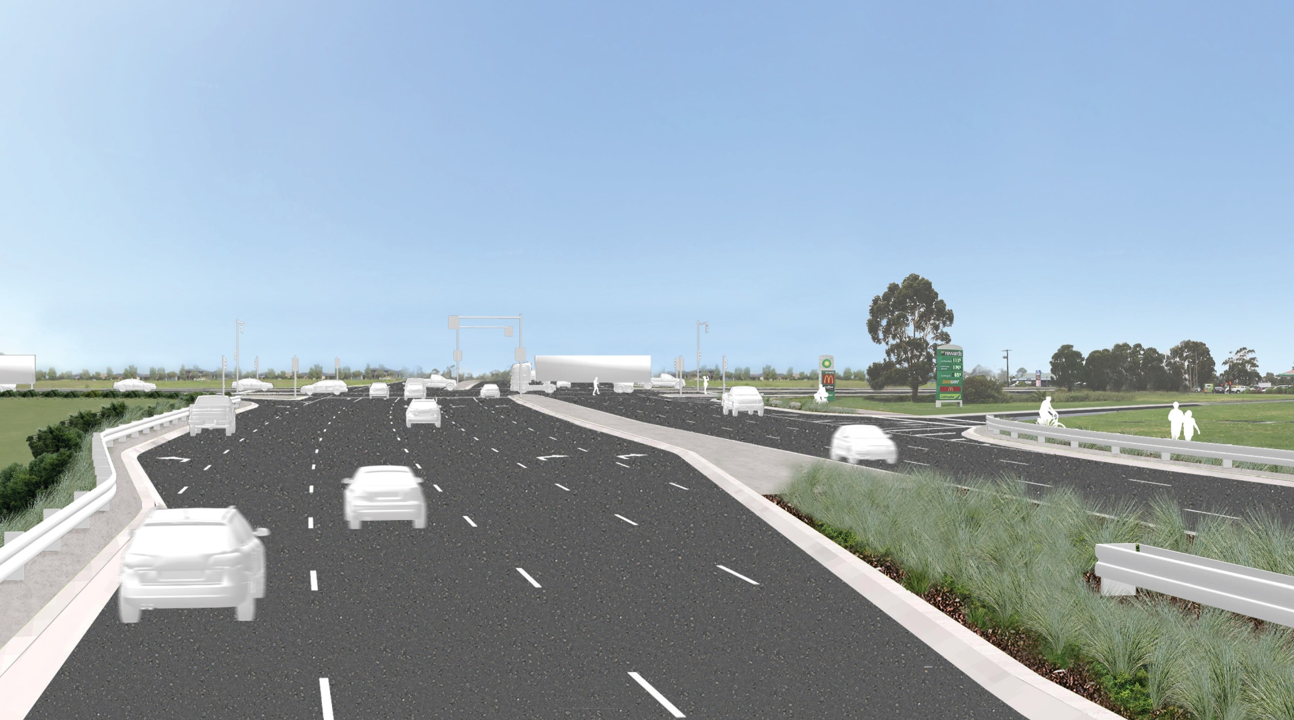 Artist's impression of cars driving through the Western Port Highway intersection 15 years after project completion