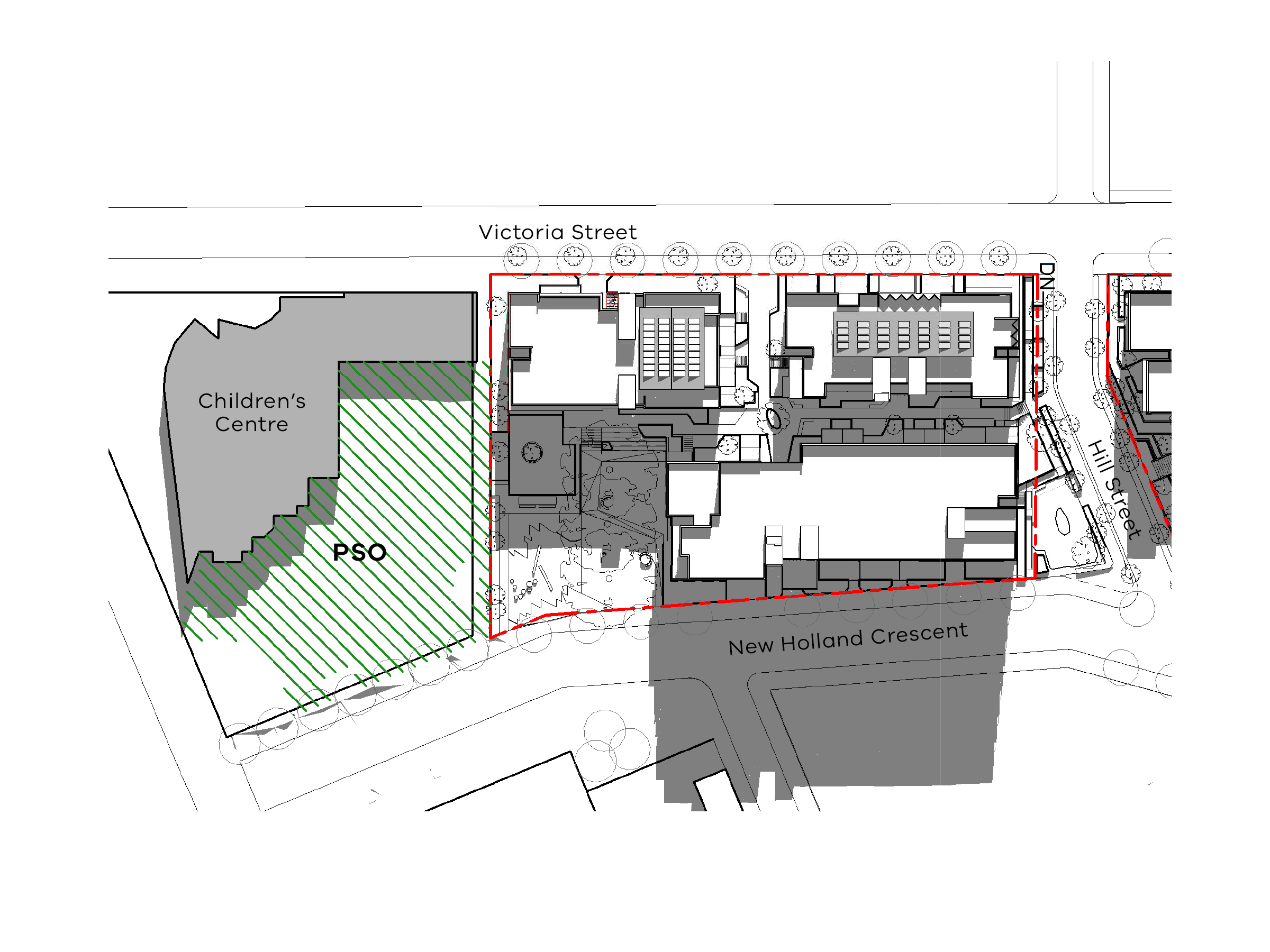 Diagram showing the shadows created by the south site of the new development in September at 3pm