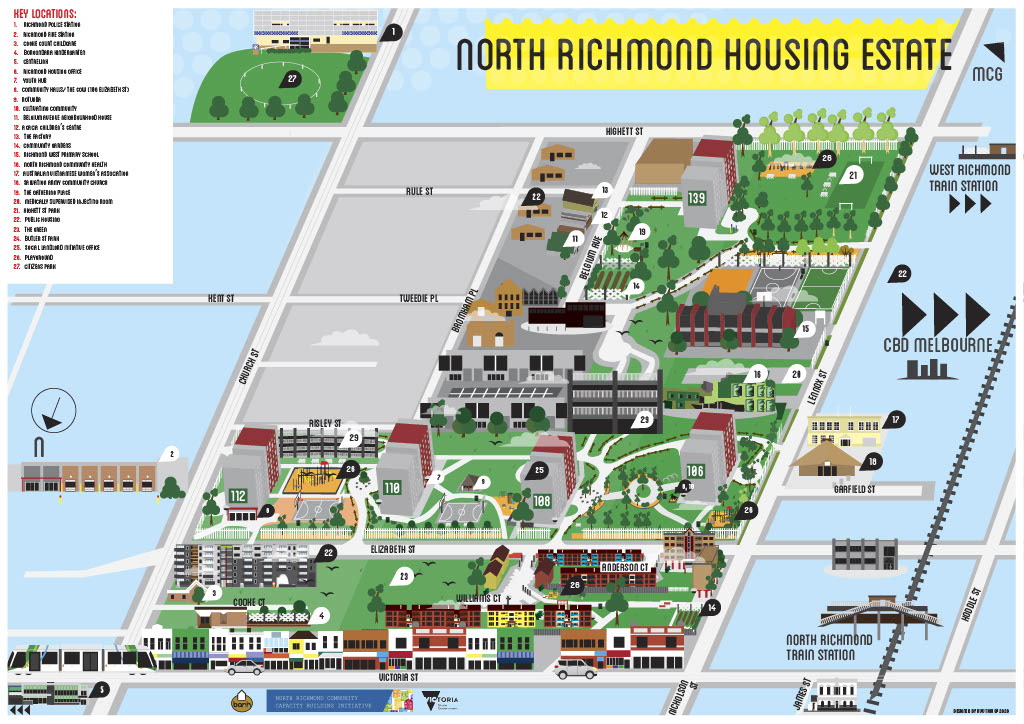This image shows a map with the proposed master plan for North Richmond Precinct and includes the RIchmond Housing estate and proposed developments in the area.