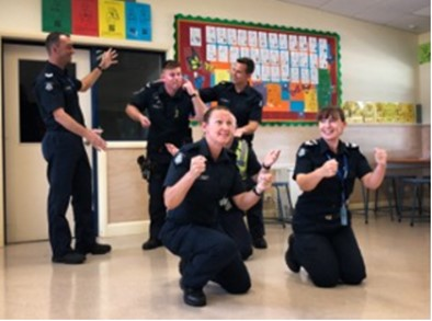 Police officers participating in a classroom workshop