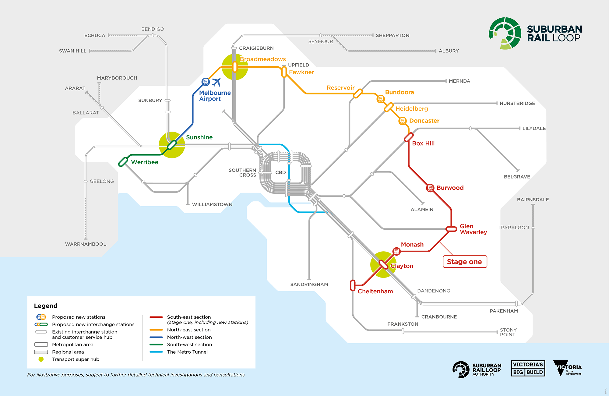 This is a map of Suburban Rail Loop, connecting every major train line from the Frankston line to the Werribee line, via the Melbourne Airport. This map shows the broad alignment for Stage One is from Cheltenham to Box Hill, including new stations and pre