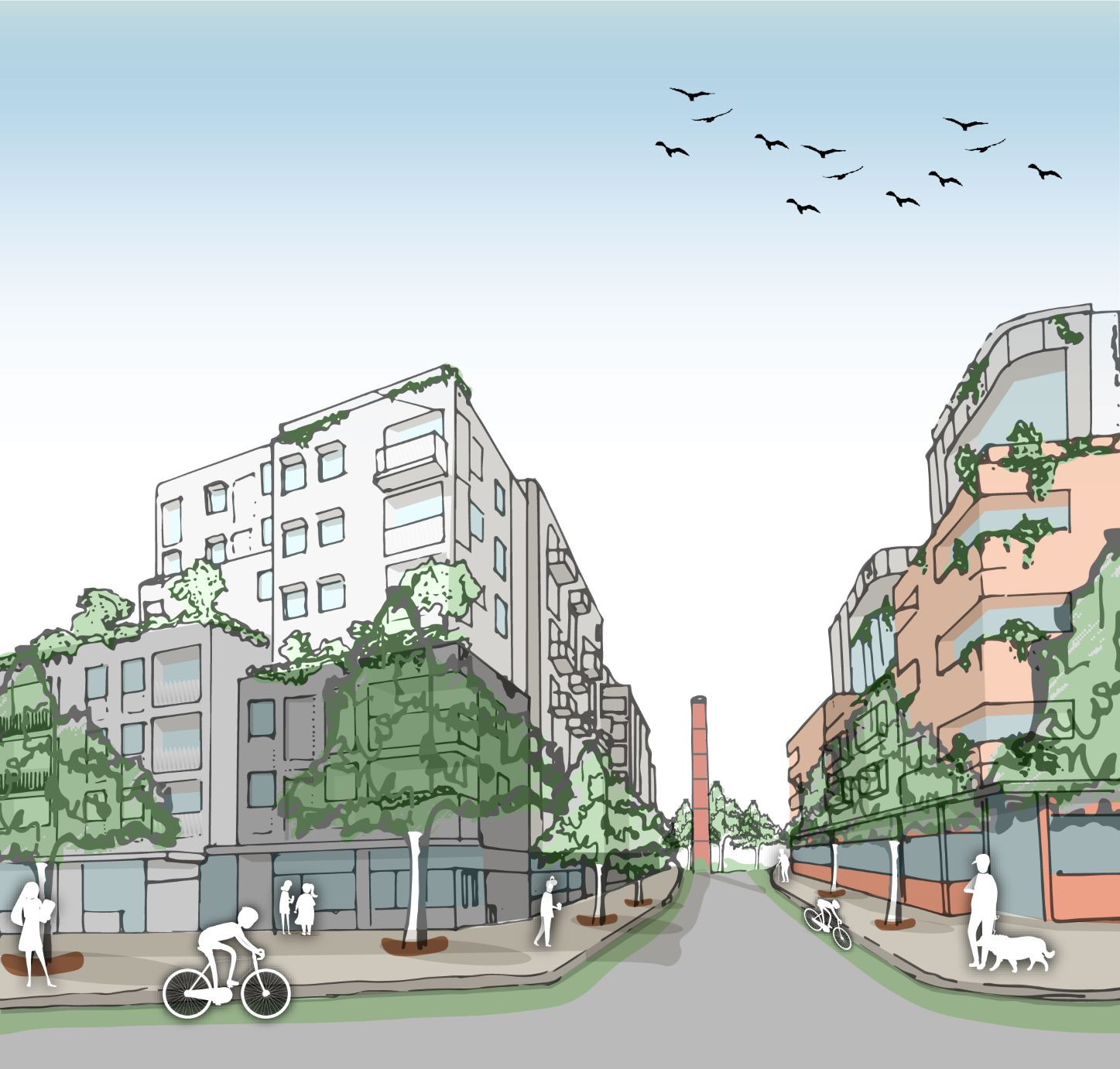 Highett Gasworks artist impression showing a residential development up to 8 storeys in the centre of the site and the chimney which will remain. The picture shows a cyclist, dog walker and other pedestrians using the site.