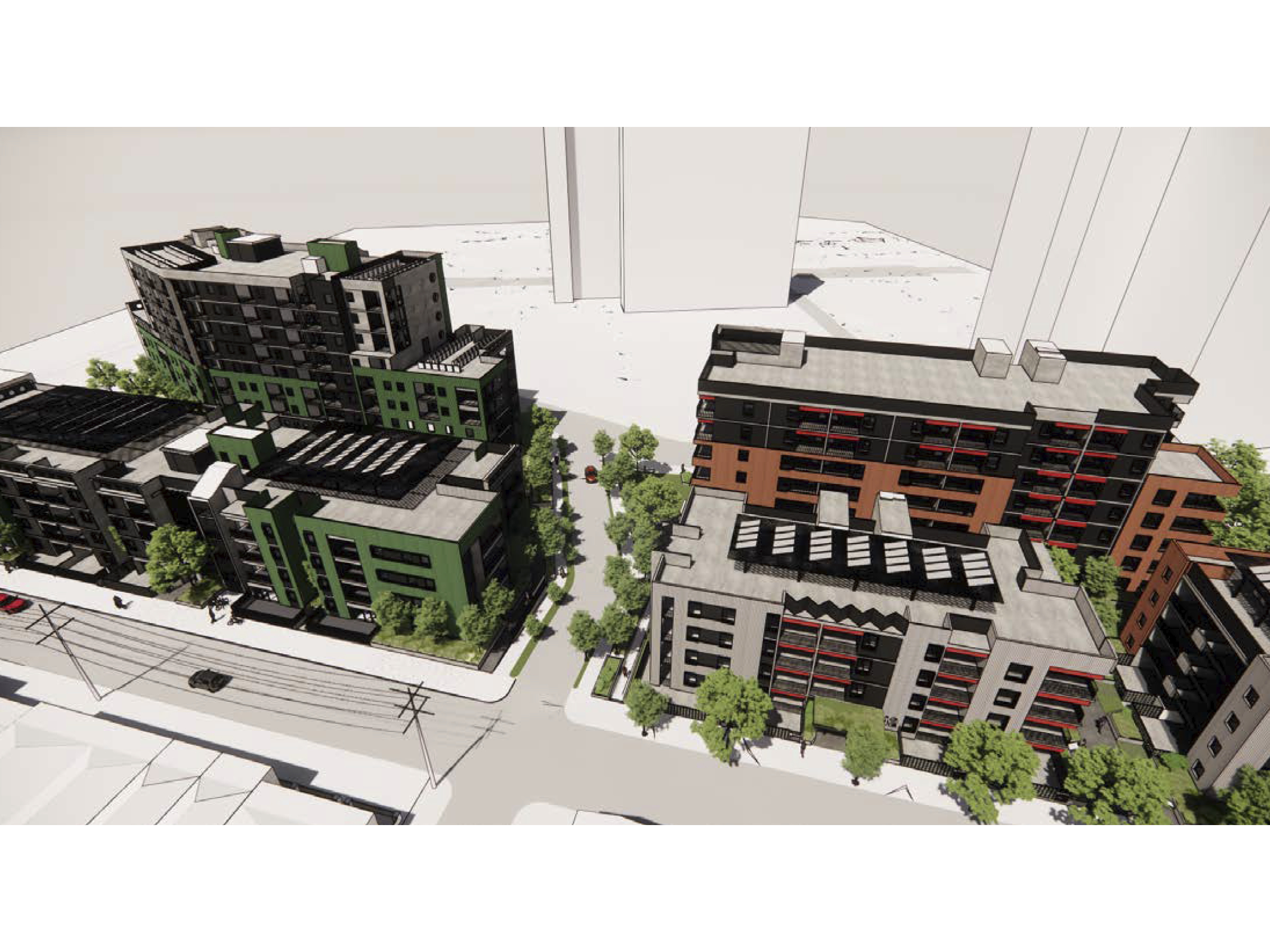 Artist impression looking at the new development from Victoria Street looking east