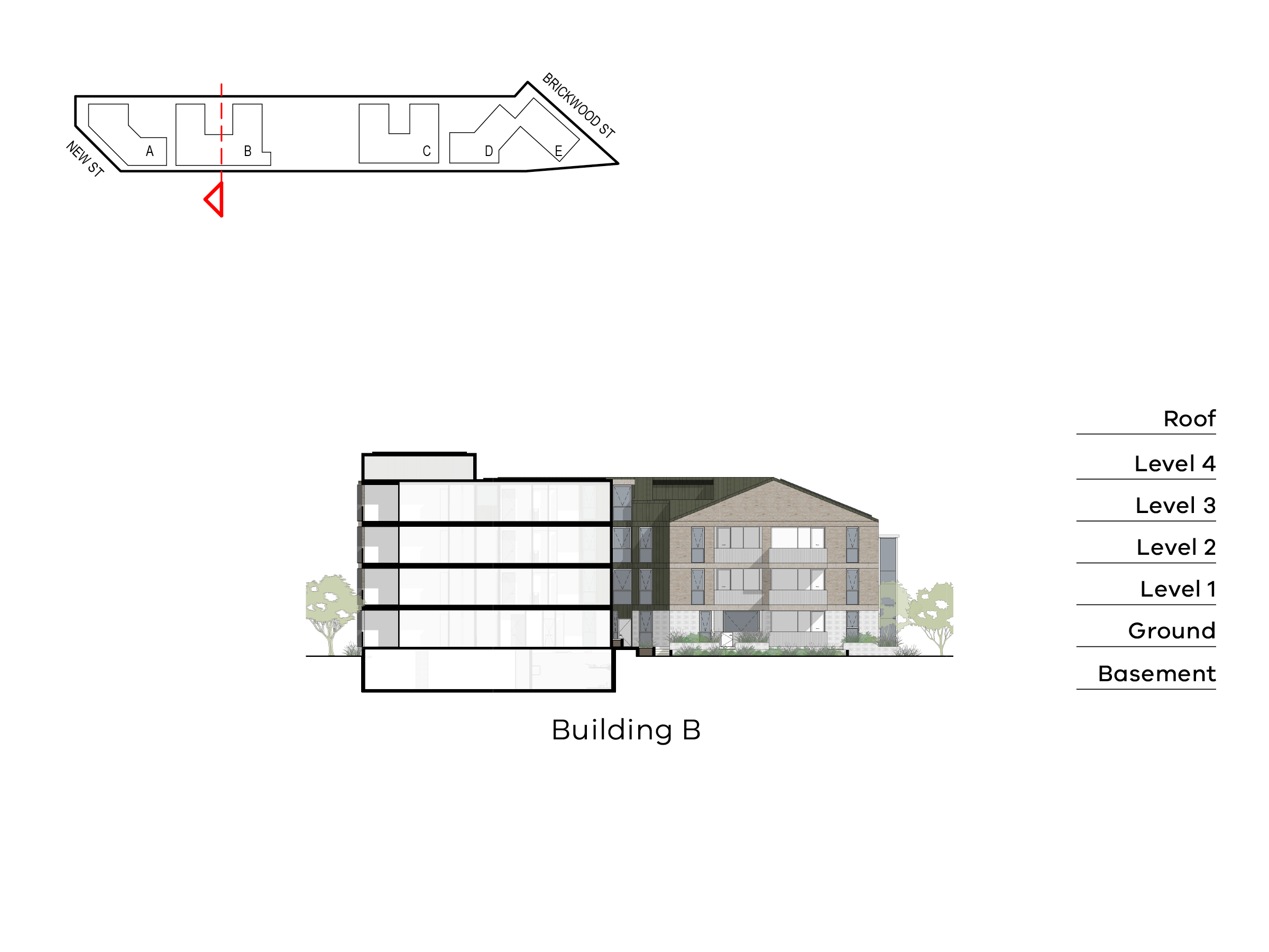 Diagram showing the height of building B as seen from the entry of building B towards New Street. Building B has ground level, floor 1-2 and a roof on Ebden Street side and basement, ground level, level 1-3 and roof on the Elster Creek side.