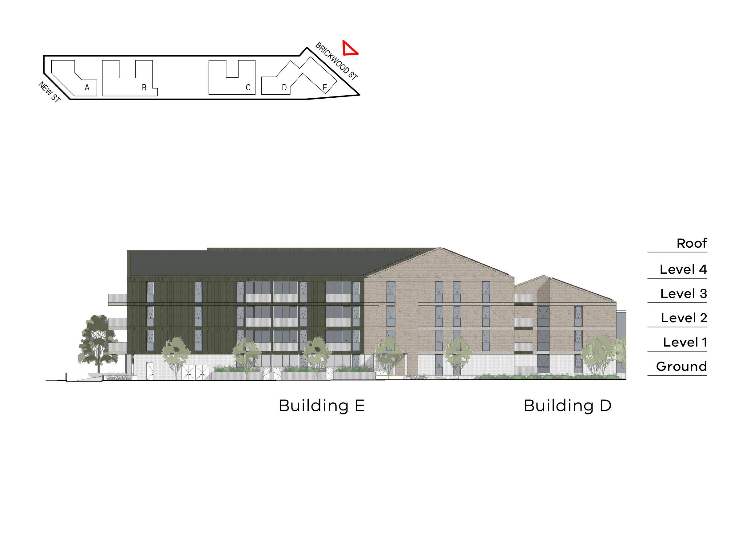 Diagram showing the heights of buildings D and E as seen from Brickwood Street. Building D includes ground level, level 1-2 and a roof, building E includes ground level, level 1-3 and a roof.