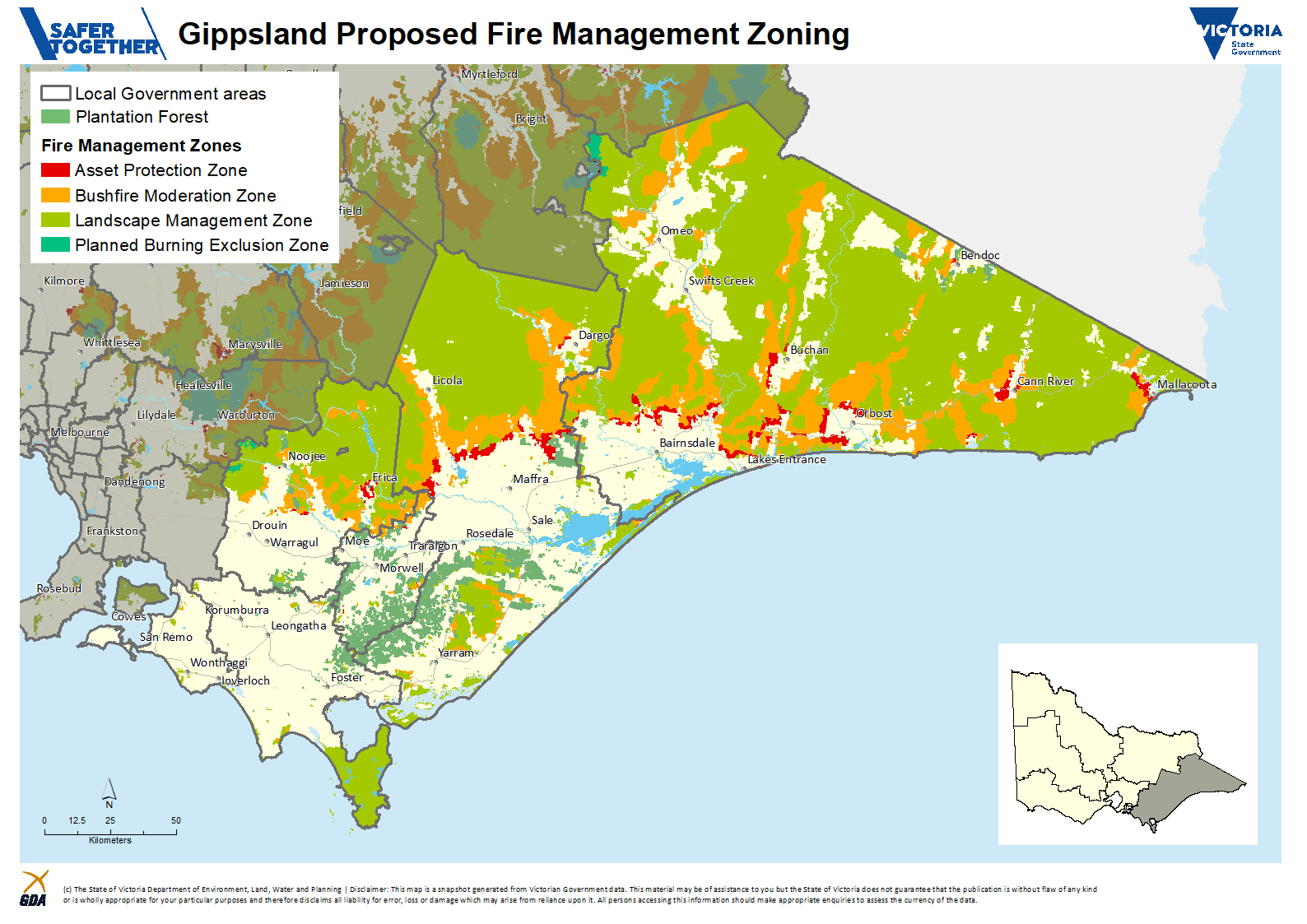 A map of the proposed Fire Management Zones in the Gippsland Region