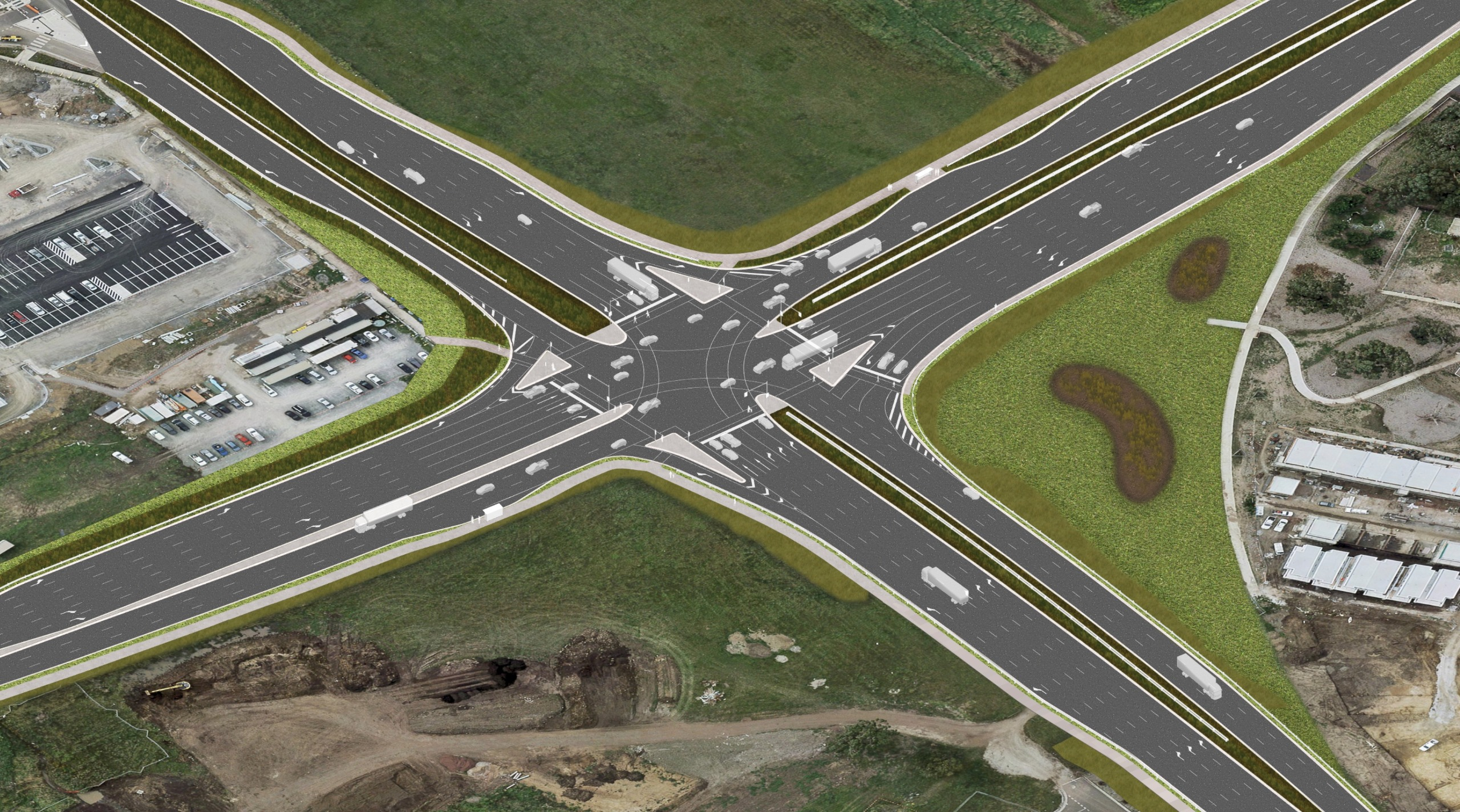 Aerial view artist's impression of Evans Road 15 years after project completion