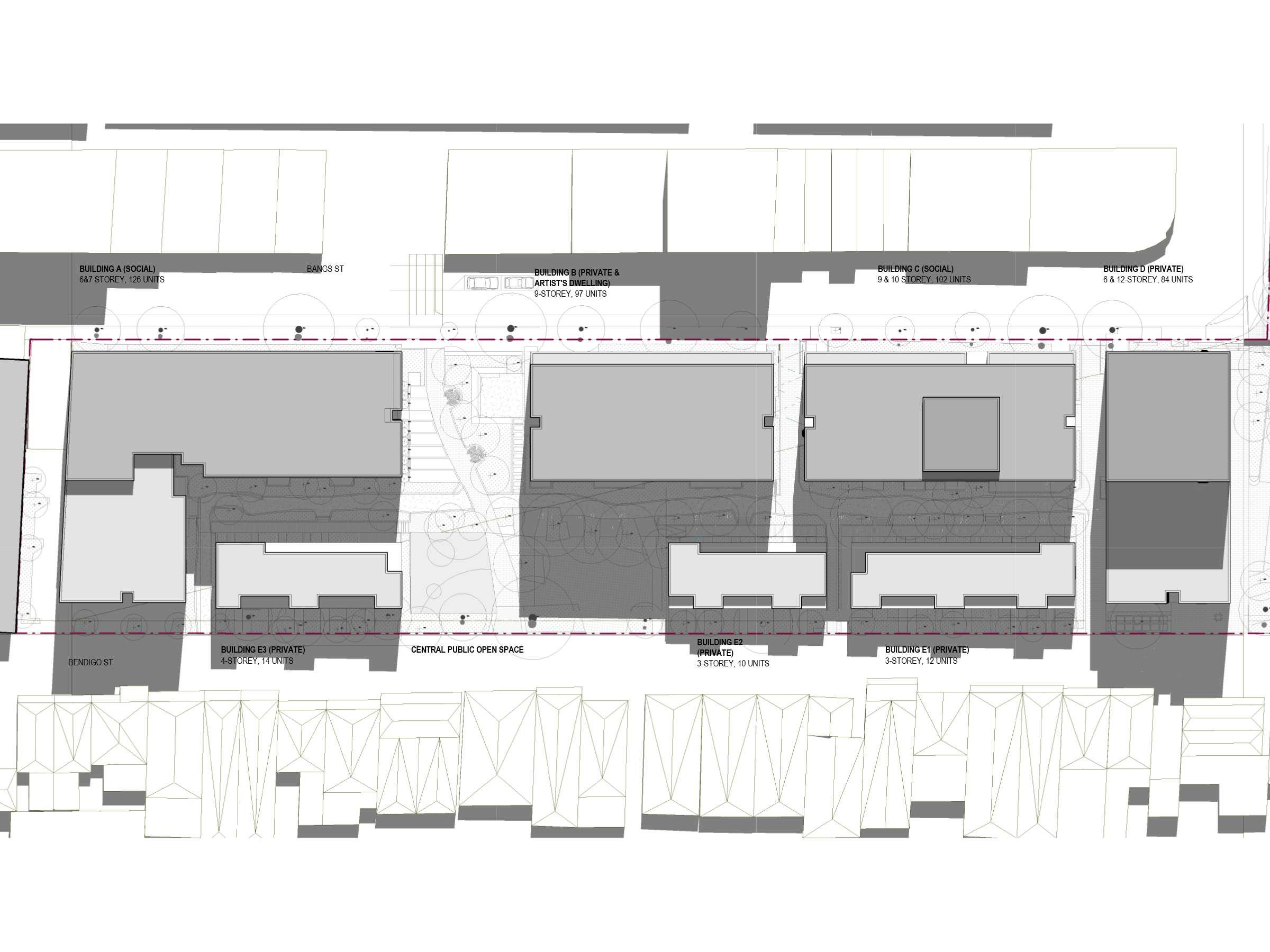 Diagram showing the shadows created by the new development in December at 3pm