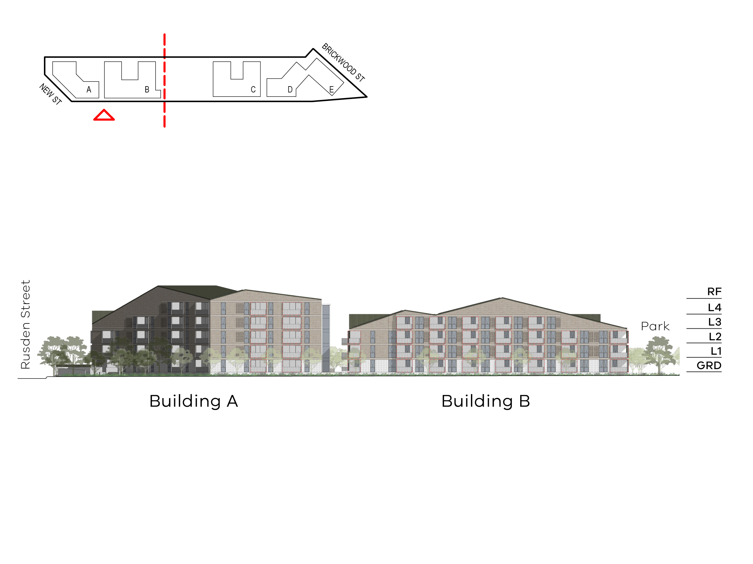 Diagram showing the heights of buildings A and B as seen from Elster Creek. Building A includes ground level, level 1 - 4 and a roof, building B includes ground level, level 1-3 and a roof.