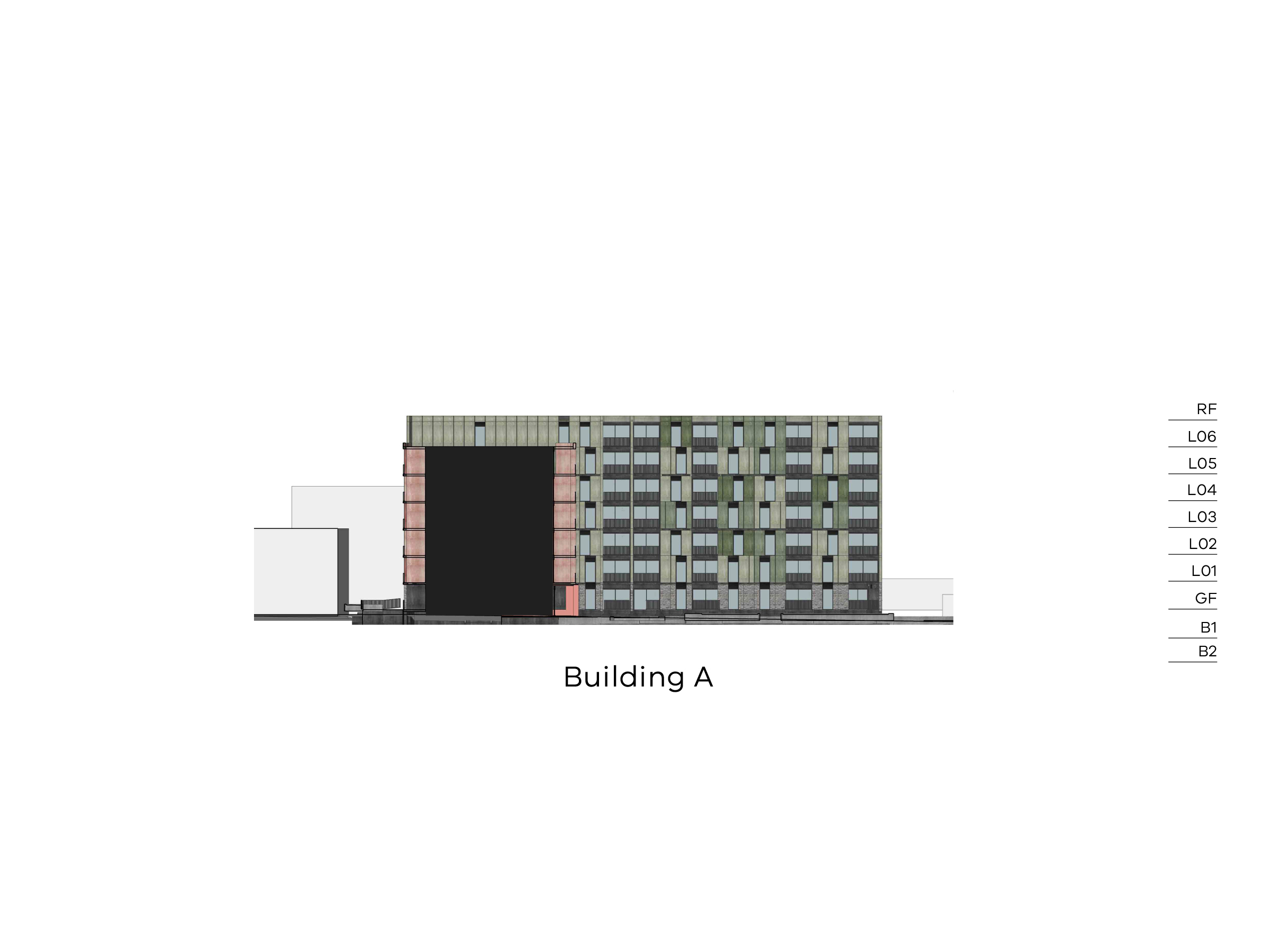 Diagram showing the heights of building A as seen from the walkway on site looking towards Bangs Street. Building A has 2 basement levels, a ground level, level 1-6 and a flat roof.