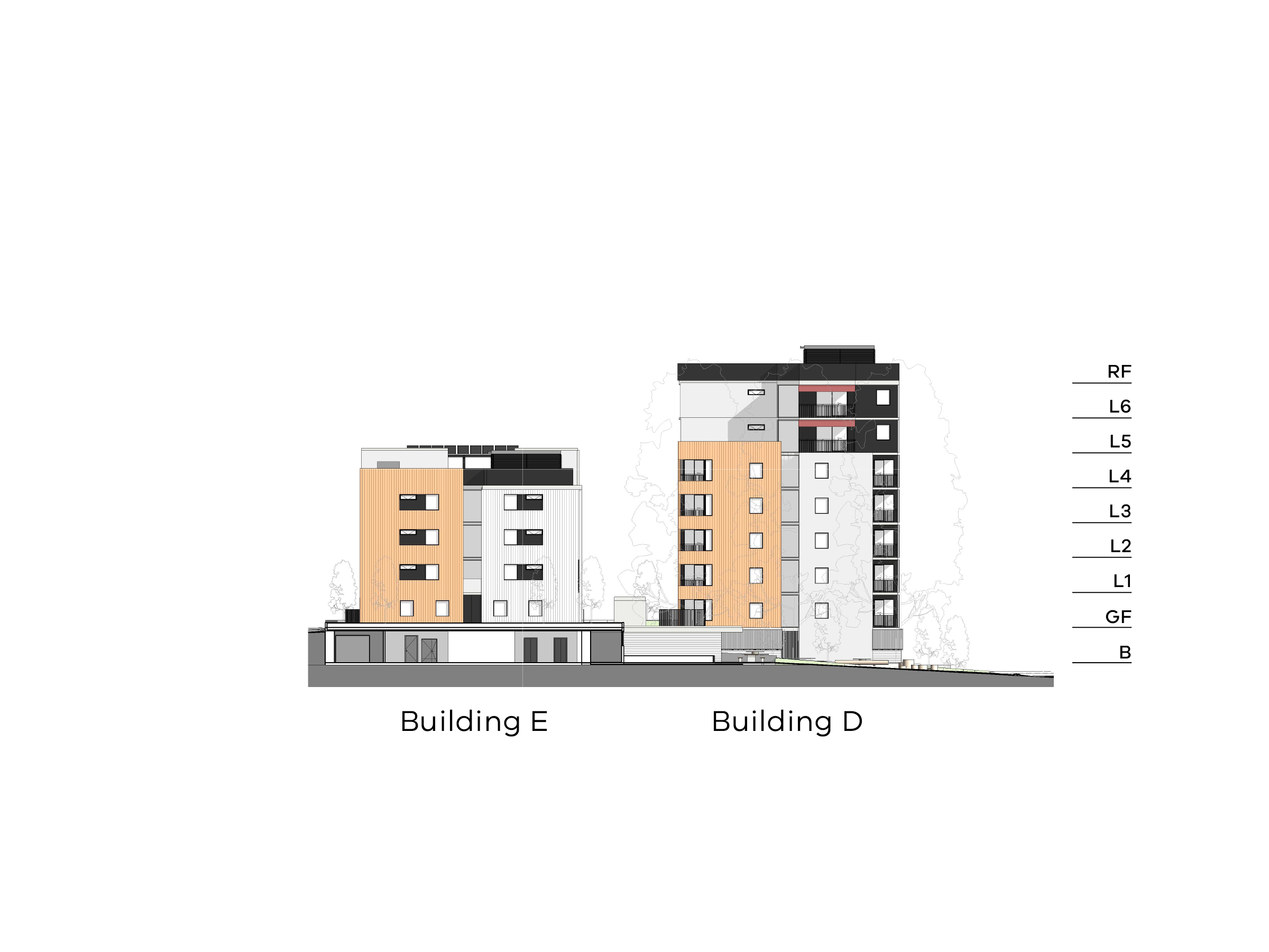 Diagram showing the heights of buildings D and E as seen from Hopetoun Child Care Centre. Building D has a basement, ground floor, level 1-6 and a flat roof. Building E has a basement, ground floor, level 1-5 and a flat roof.
