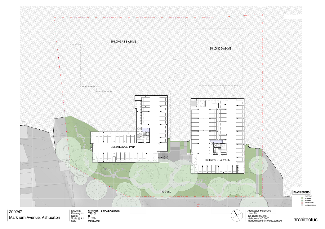 This image is showing the carpark plans for Buildings C and E.  There are 2 buildings shown on this plan – Buildings C and E which are located to the Southern end of the site.   Building C to the West has carparking and bicycle parking shown on the plans with a lift and stair core located centrally within the building.  Building E to the East has carparking and bicycle parking shown on the plans with a lift and stair core located centrally within the building.  The creek is located to the southern end of the site.  There are lush existing trees that are retained along the southern and western boundaries of the site.