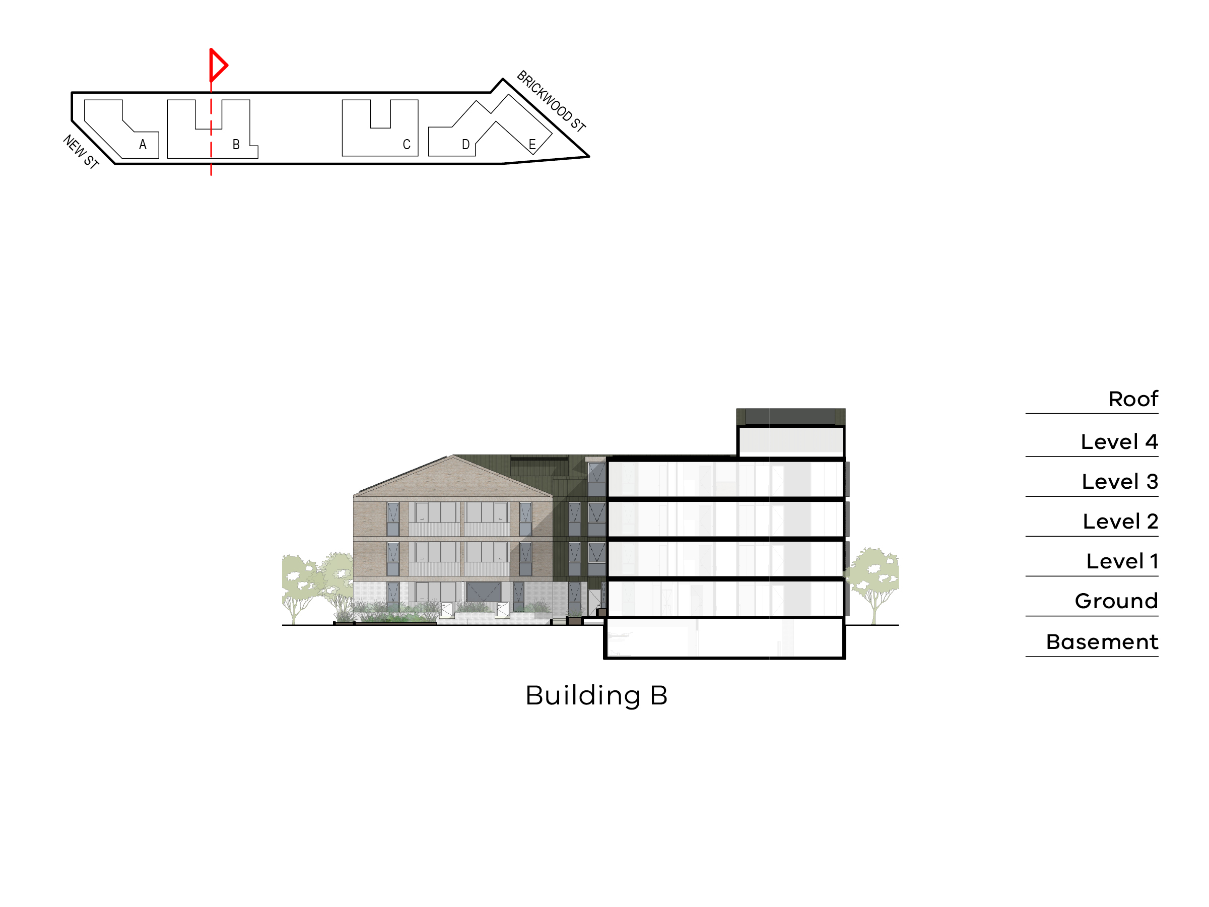 Diagram showing the height of building B as seen from the entry of building B towards Brickwood Street. Building B has ground level, floor 1-2 and a roof on Ebden Street side and basement, ground level, level 1-3 and roof on the Elster Creek side.