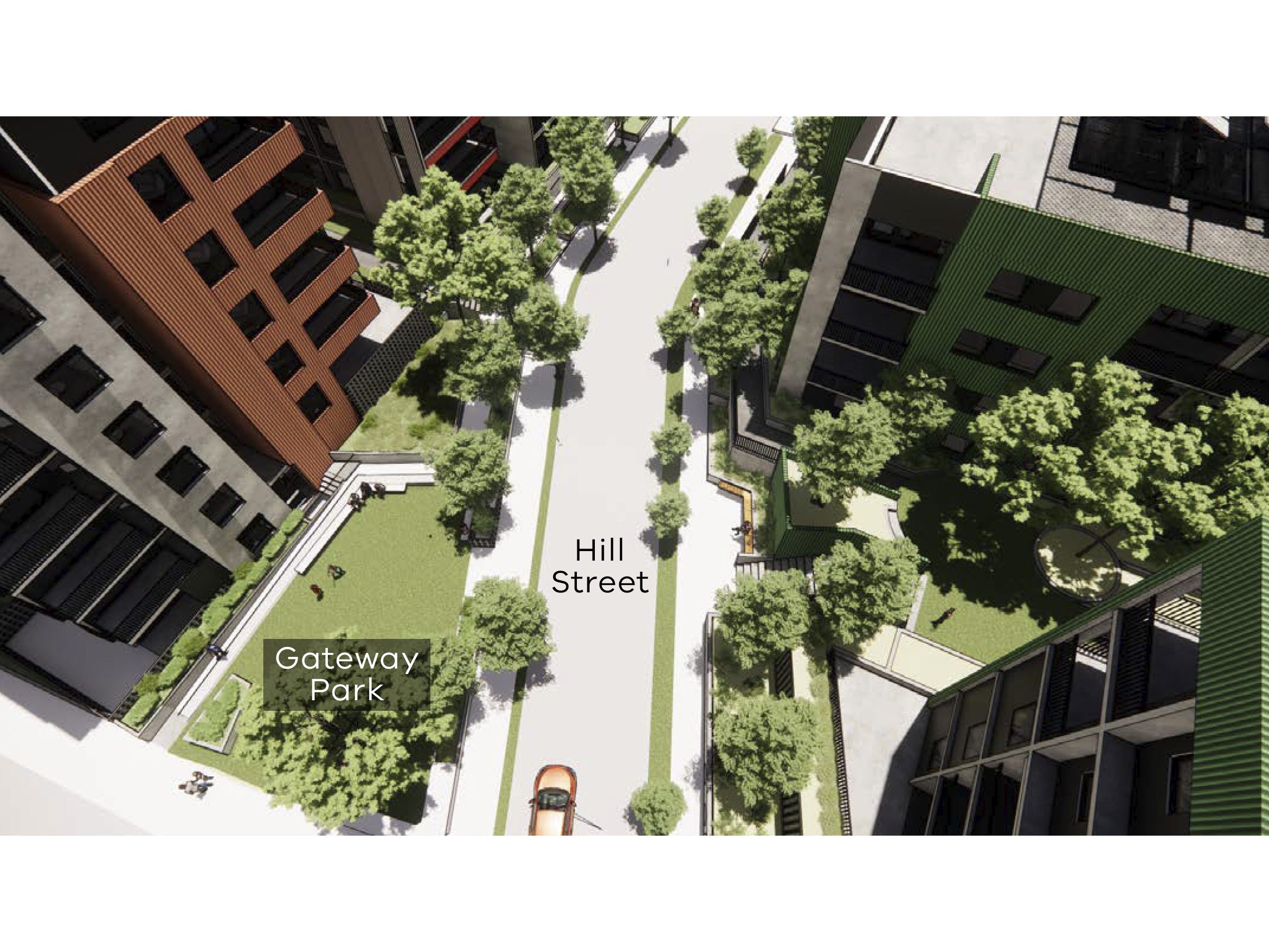 Artist impression showing an aerial view of the new development including the Gateway Park and Hill Street