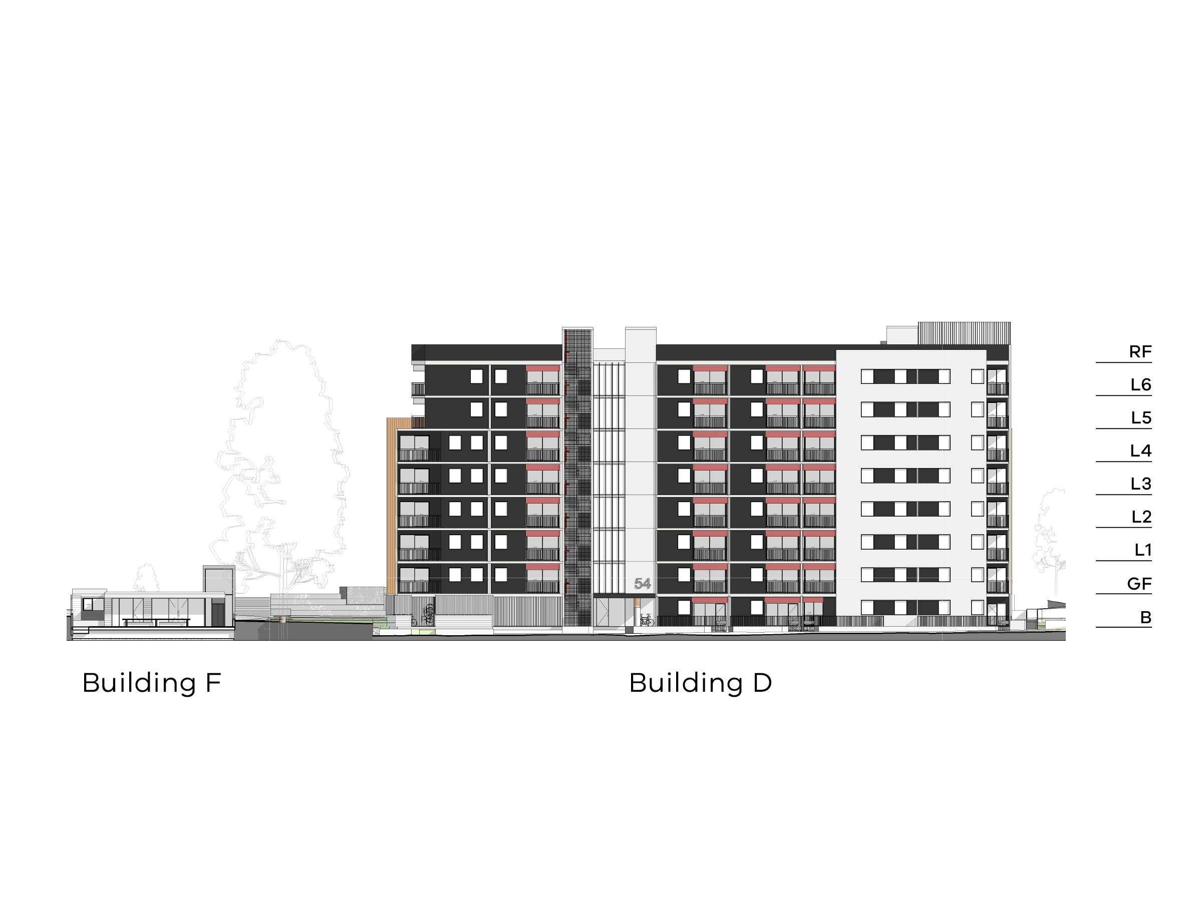 Diagram showing the heights of buildings D and F as seen from New Holland Crescent. Building D has a basement, a ground floor, level 1-6 and a flat roof. Building F has a ground level