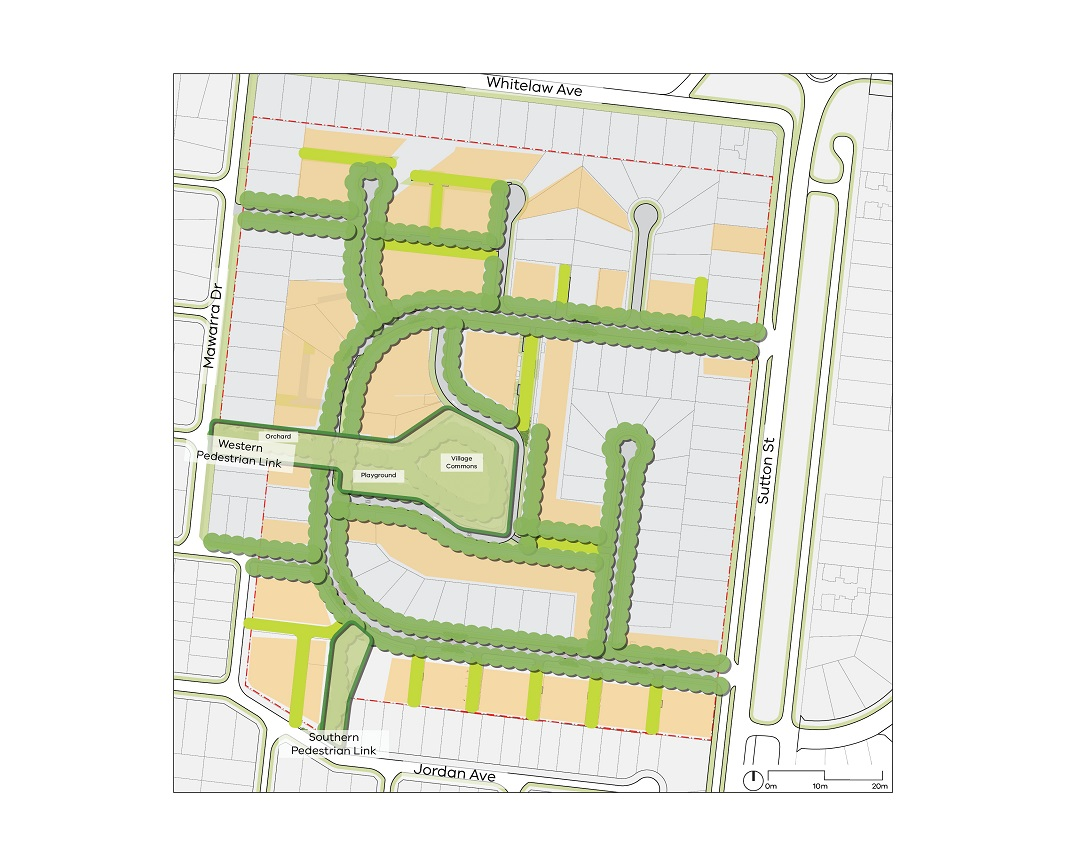 Plan showing trees along Weabra Road, Bareena Court, Leawarra Crescent, Monet Court, Chalon Court, Lawanna Court and the new proposed roads. The Western pedestrian link connects the Village Commons with Mawarra Drive and includes an orchard and a playground.