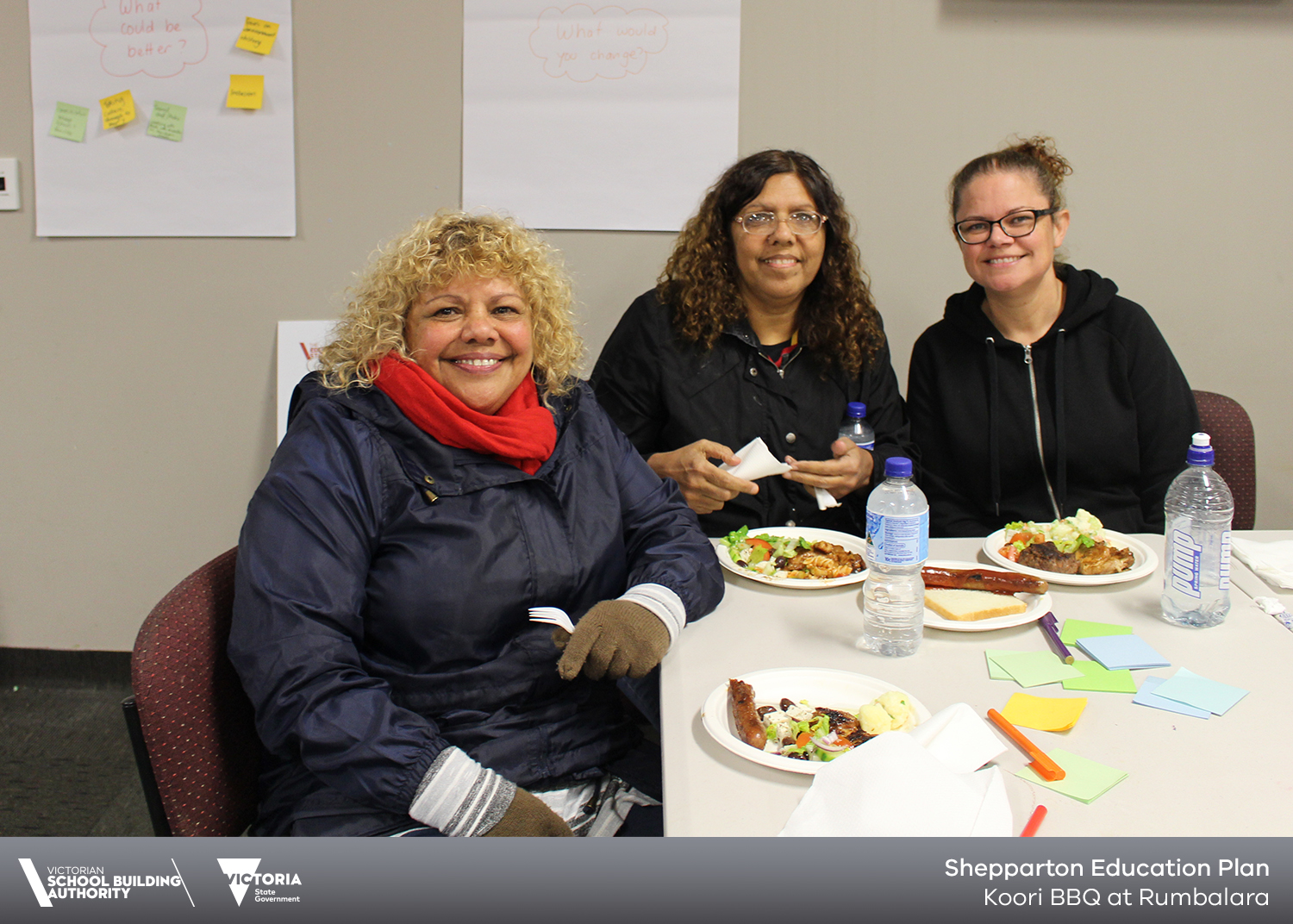 3 women smiling at table for Koori BBQ at Rumbalara