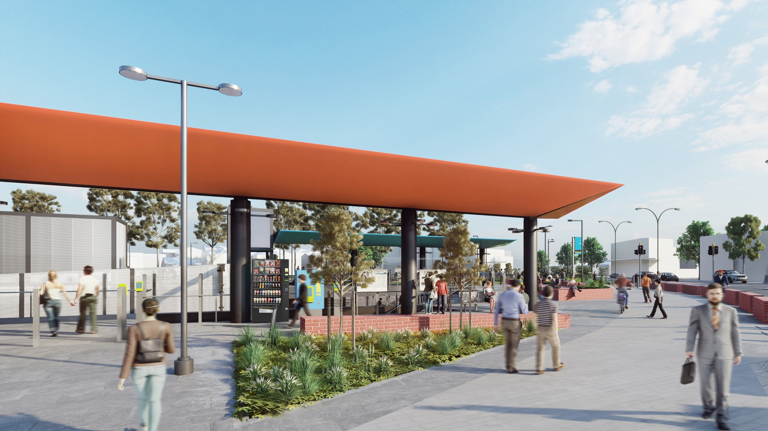 The station forecourt will feature large planter boxes that double as seating