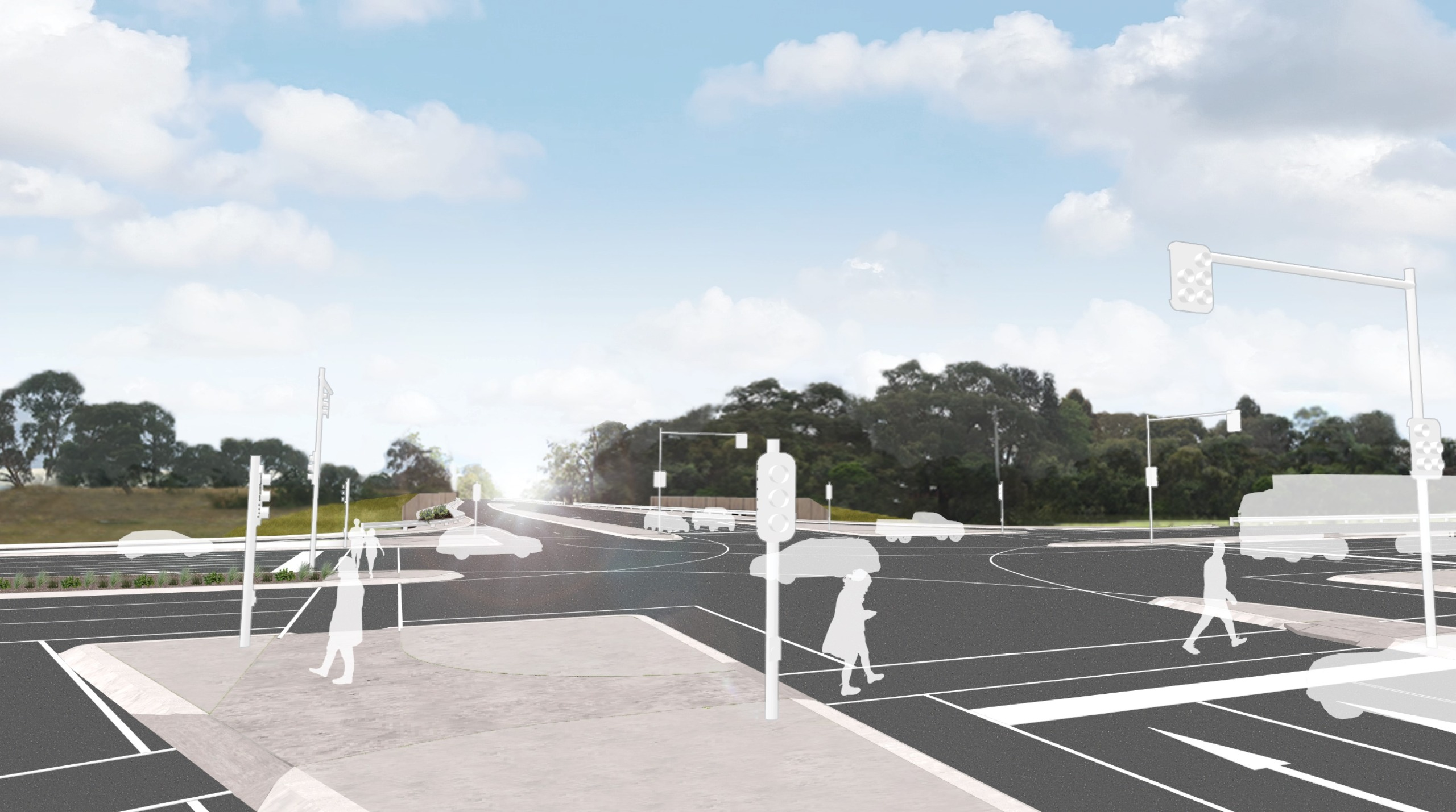 Artist's impression of pedestrians on the Ballarto Road intersection 1 year after project completion