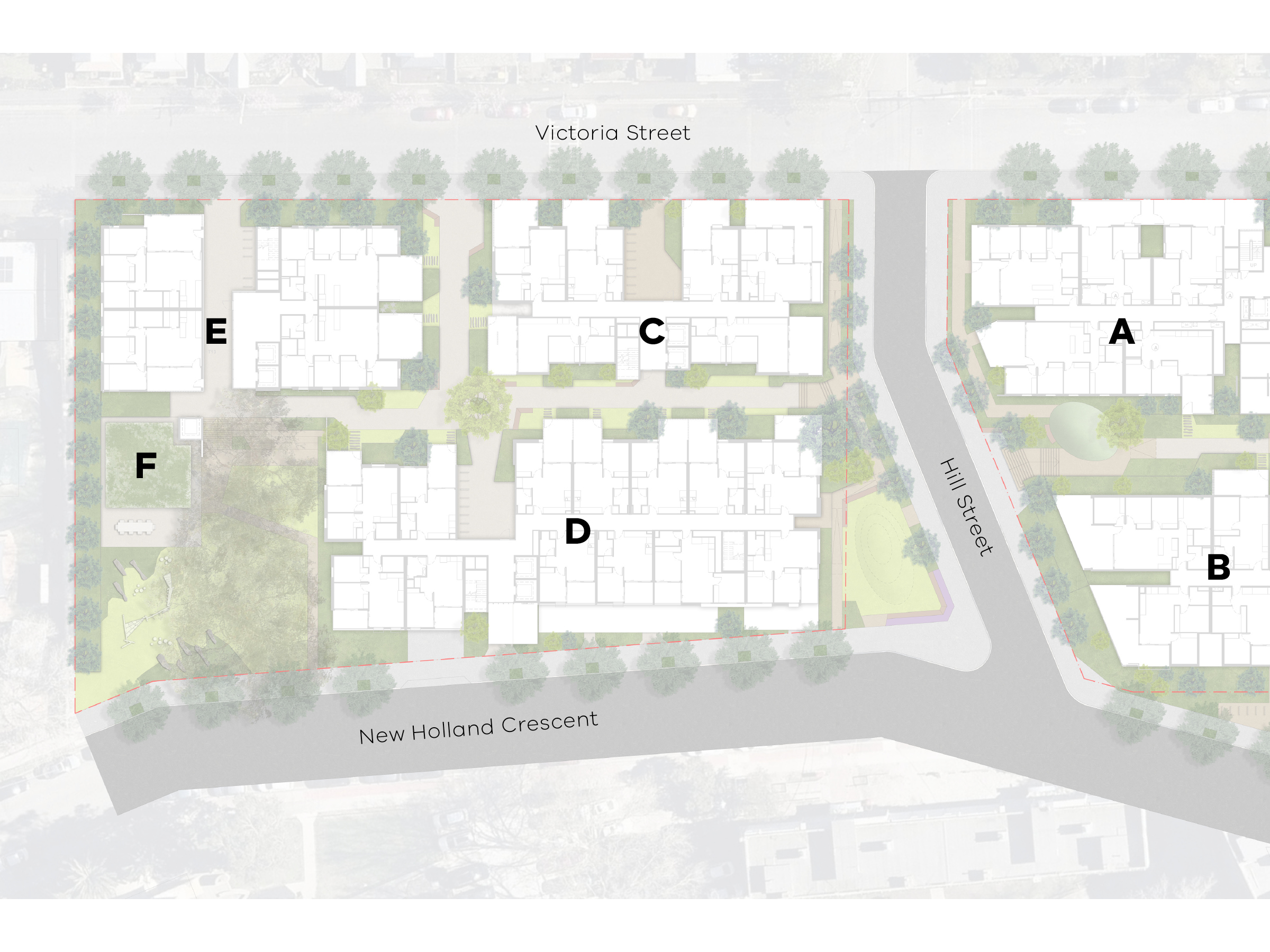 Map showing the new development south of Hill Street, east of Victoria Street and west of New Holland Crescent.
