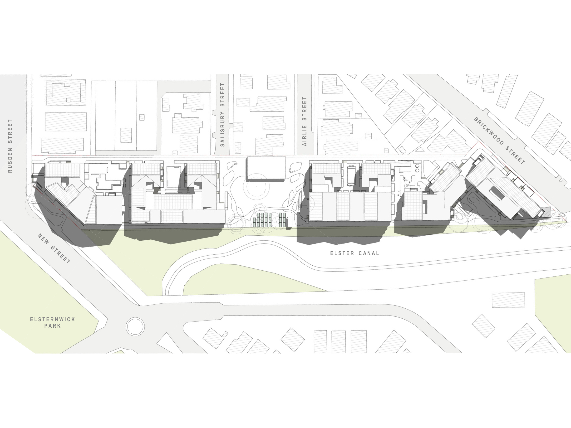Diagram showing the shadows created by the new development in December at 9am