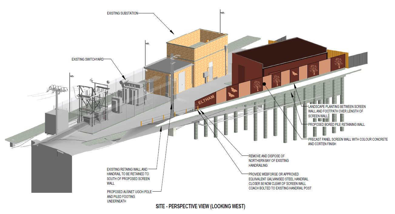 The image is a site perspective view looking west. It indicates where the retaining wall will be located in relation to the existing substation.
