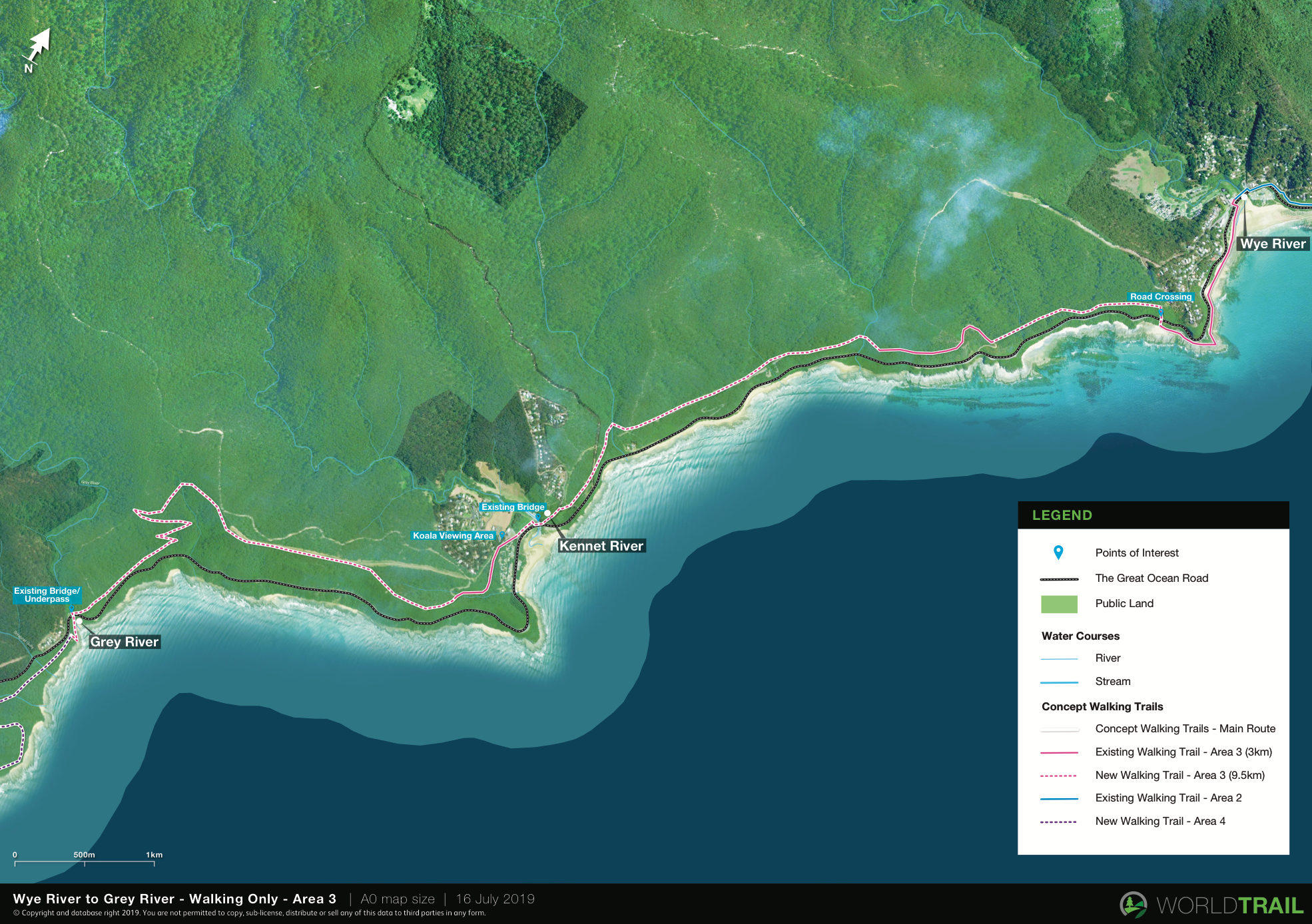 Draft concept map for a walking trail starting in Wye River and finishing in Cape Patton in the Great Ocean Road region