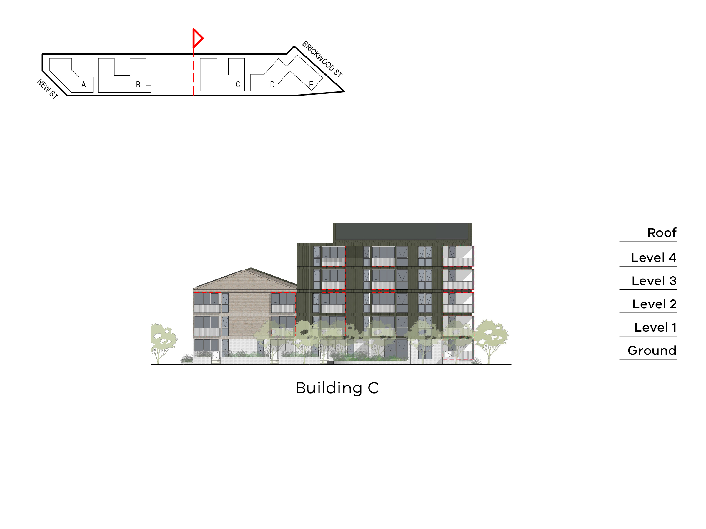 Diagram showing the height of building C as seen from building B towards Brickwood Street. Building C has ground level, floor 1-2 and a roof on the Ebden Street side, and ground level, level 1-4 and a roof on the Elster Creek side.