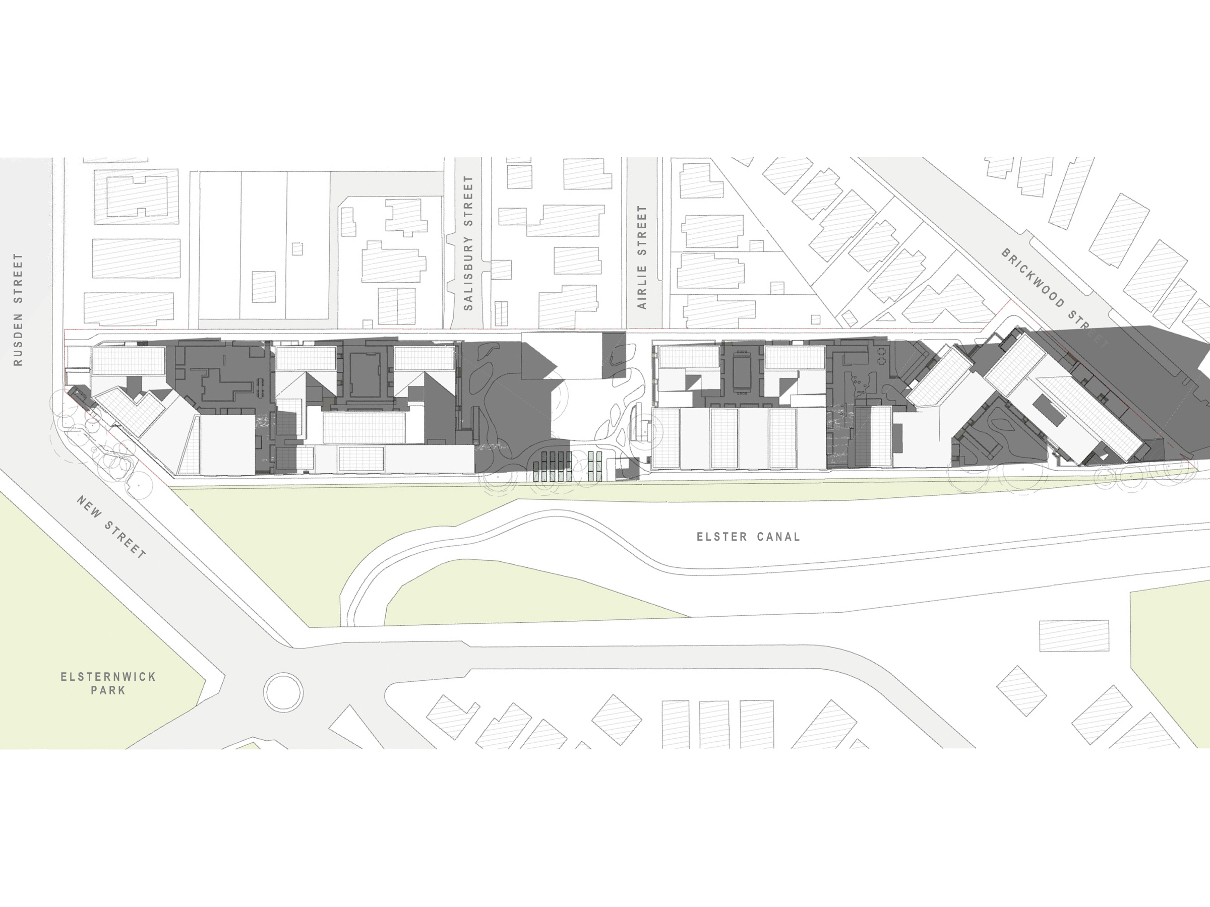 Diagram showing the shadows created by the new development in June at 3pm