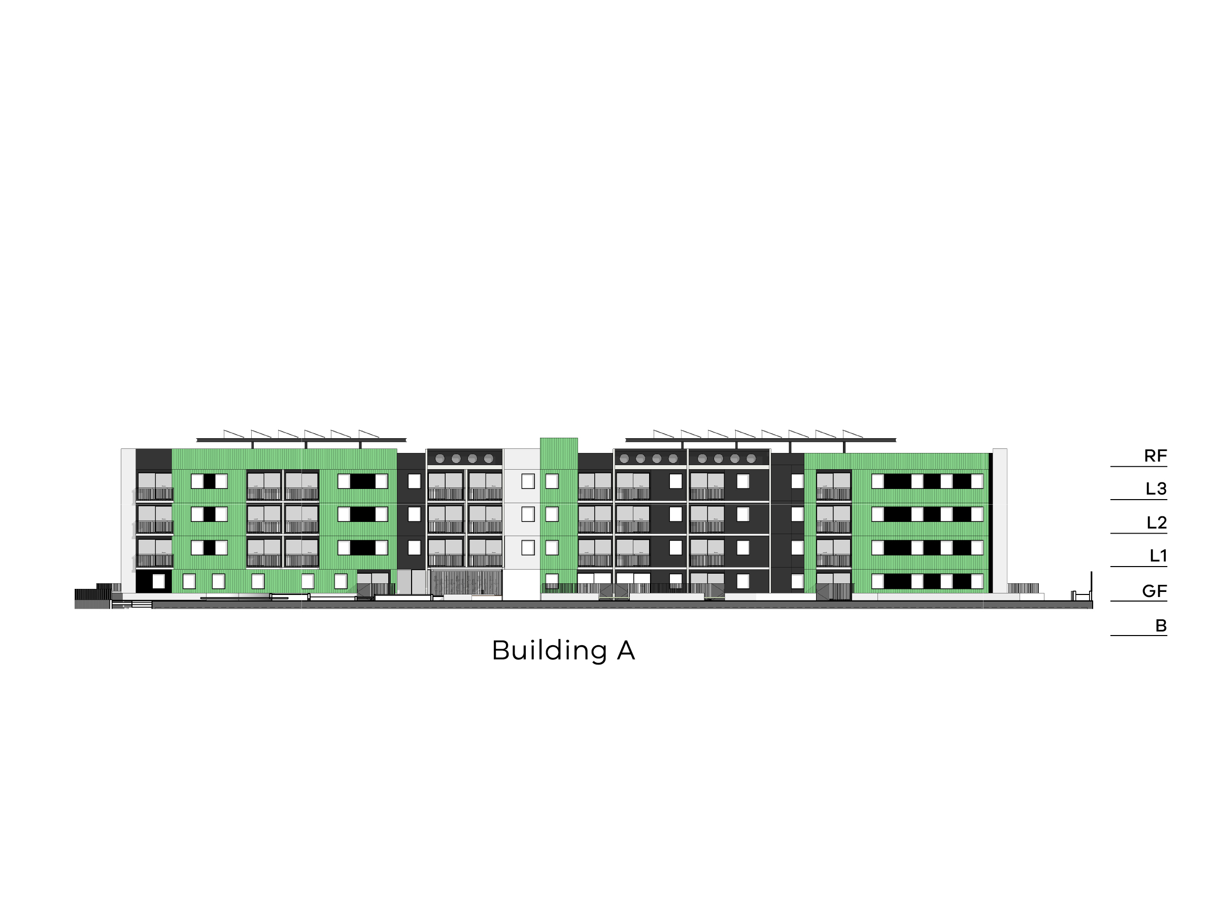 Diagram showing the height of building A as seen from the on-site walkway looking towards Victoria Street. Building A has a basement, a ground floor, level 1-3 and a flat roof.