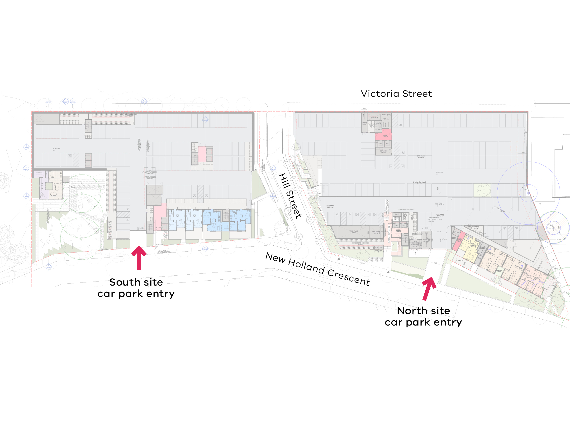 Diagram that shows the parking facilities on the new development. Access to both the north site and south site car parks is from New Holland Crescent.