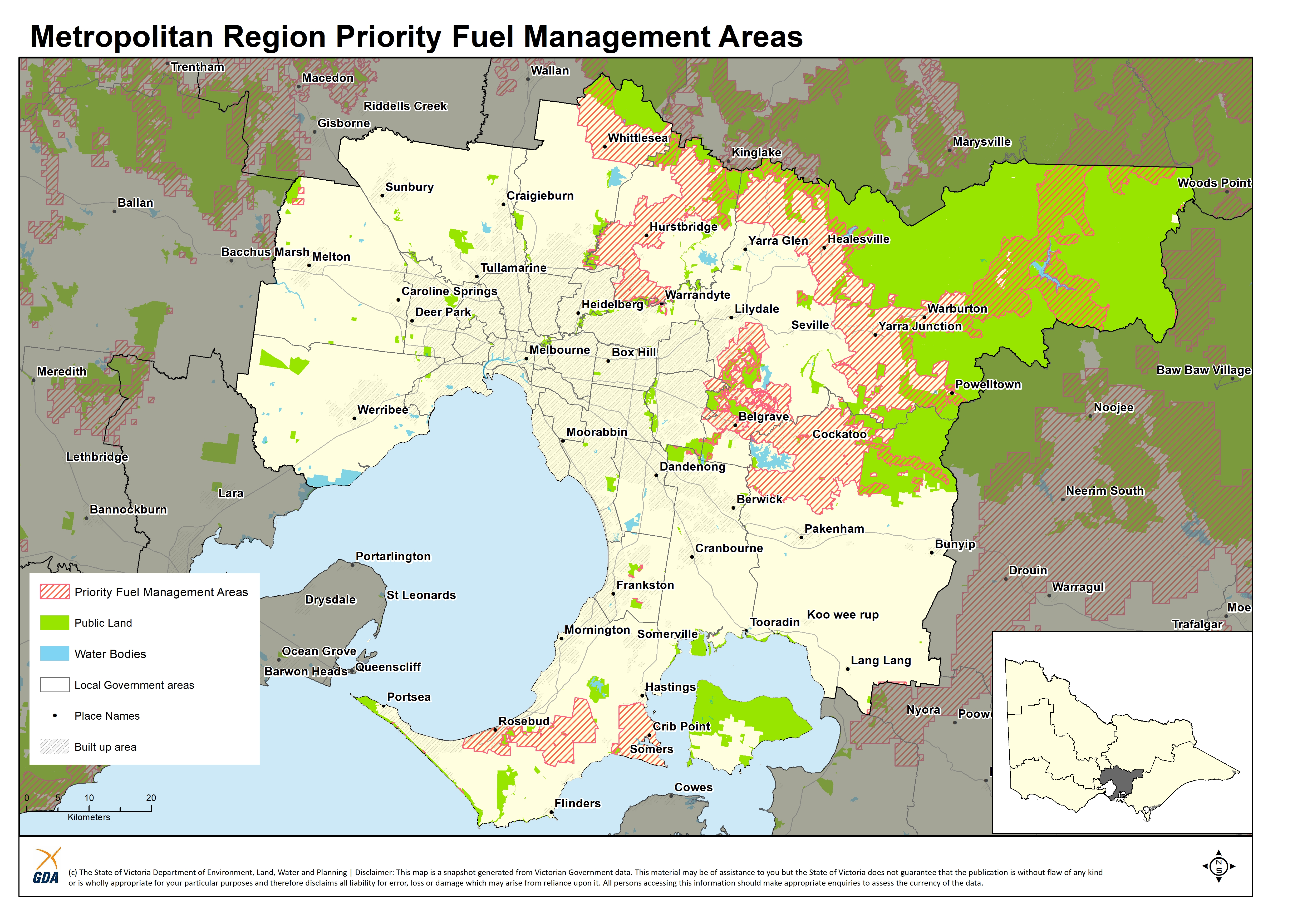 A map of the Priority Fuel Management Areas in the Metropolitan Region
