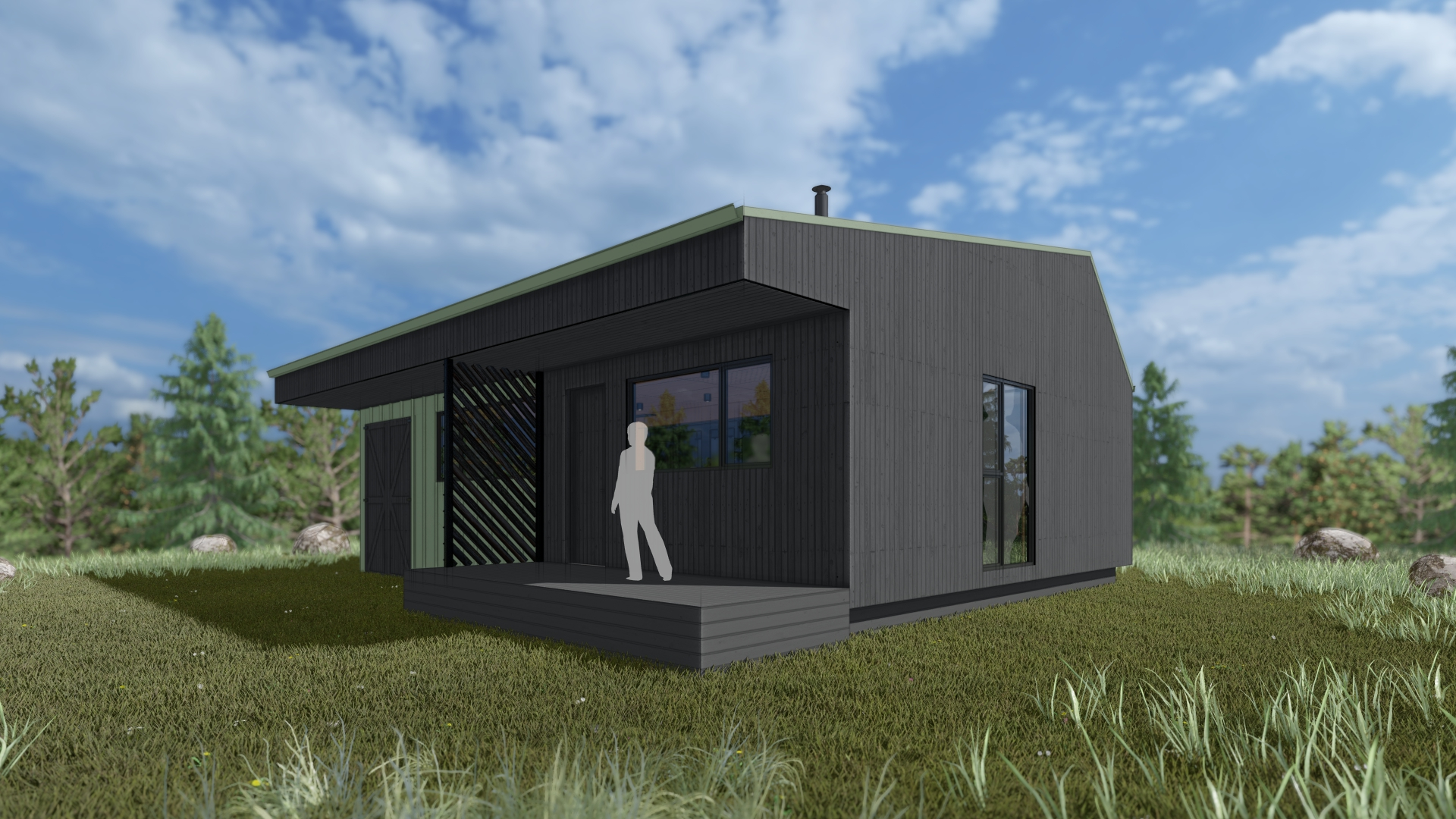 Grey cabin with small landing and a door