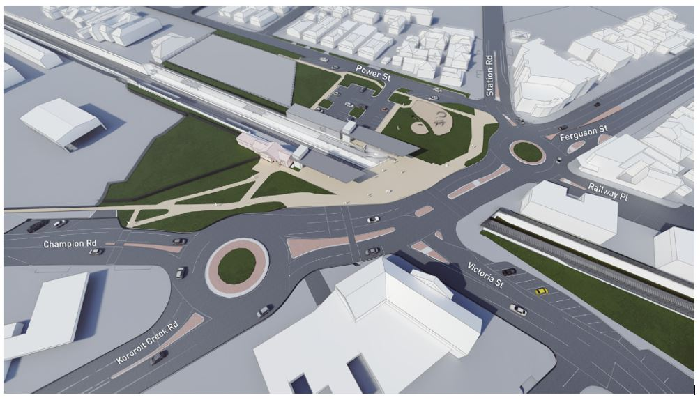 Artist impression of the rail under road design and new North Williamstown Station.