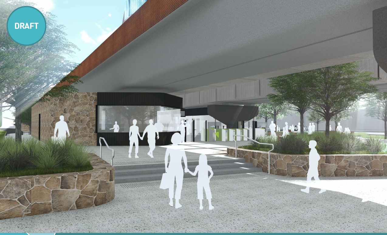 Artist impression of the Mooroolbark Station entry looking south-east.