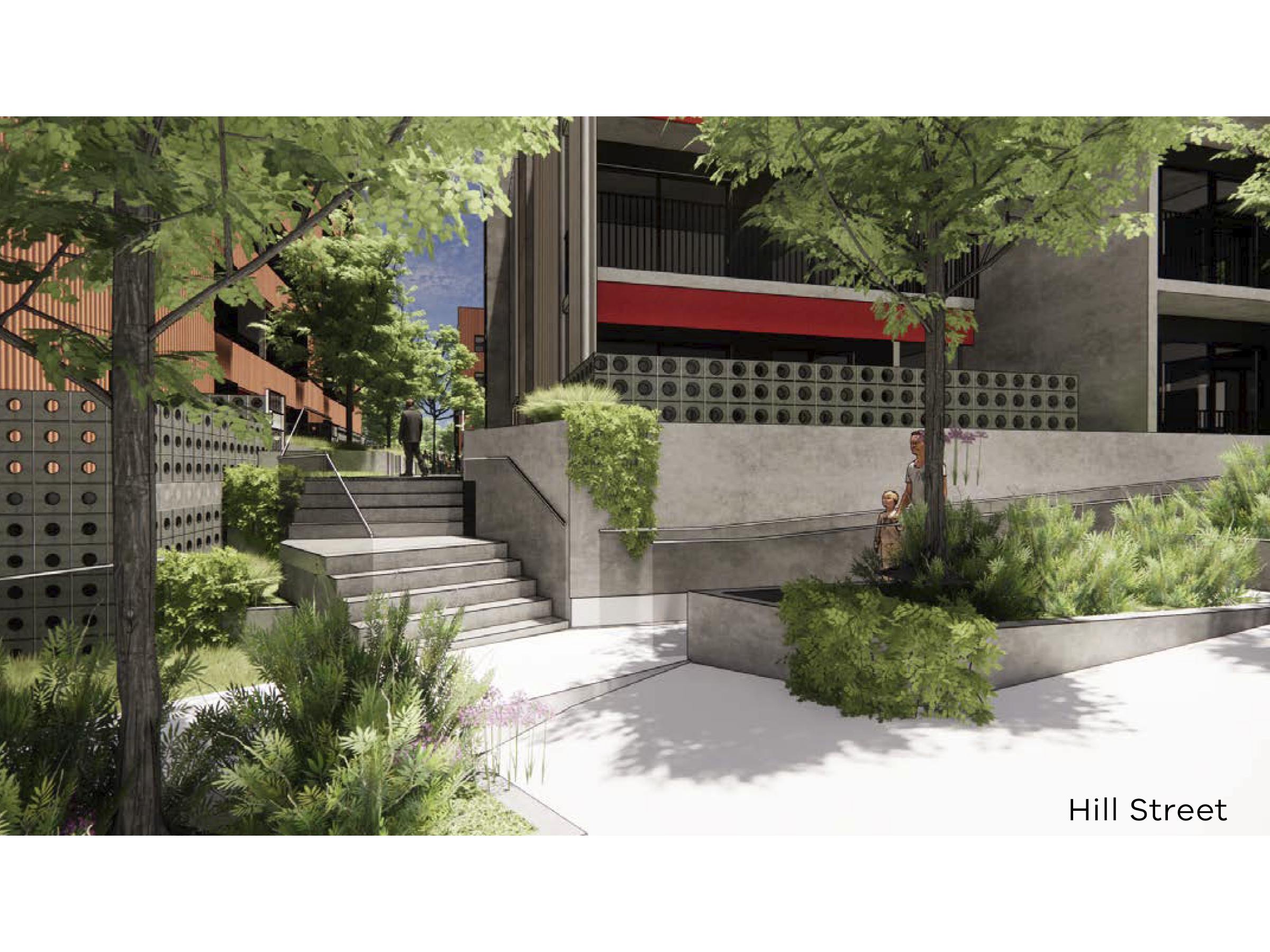Artist impression of the new development showing a staircase to access the courtyard from Hill Street