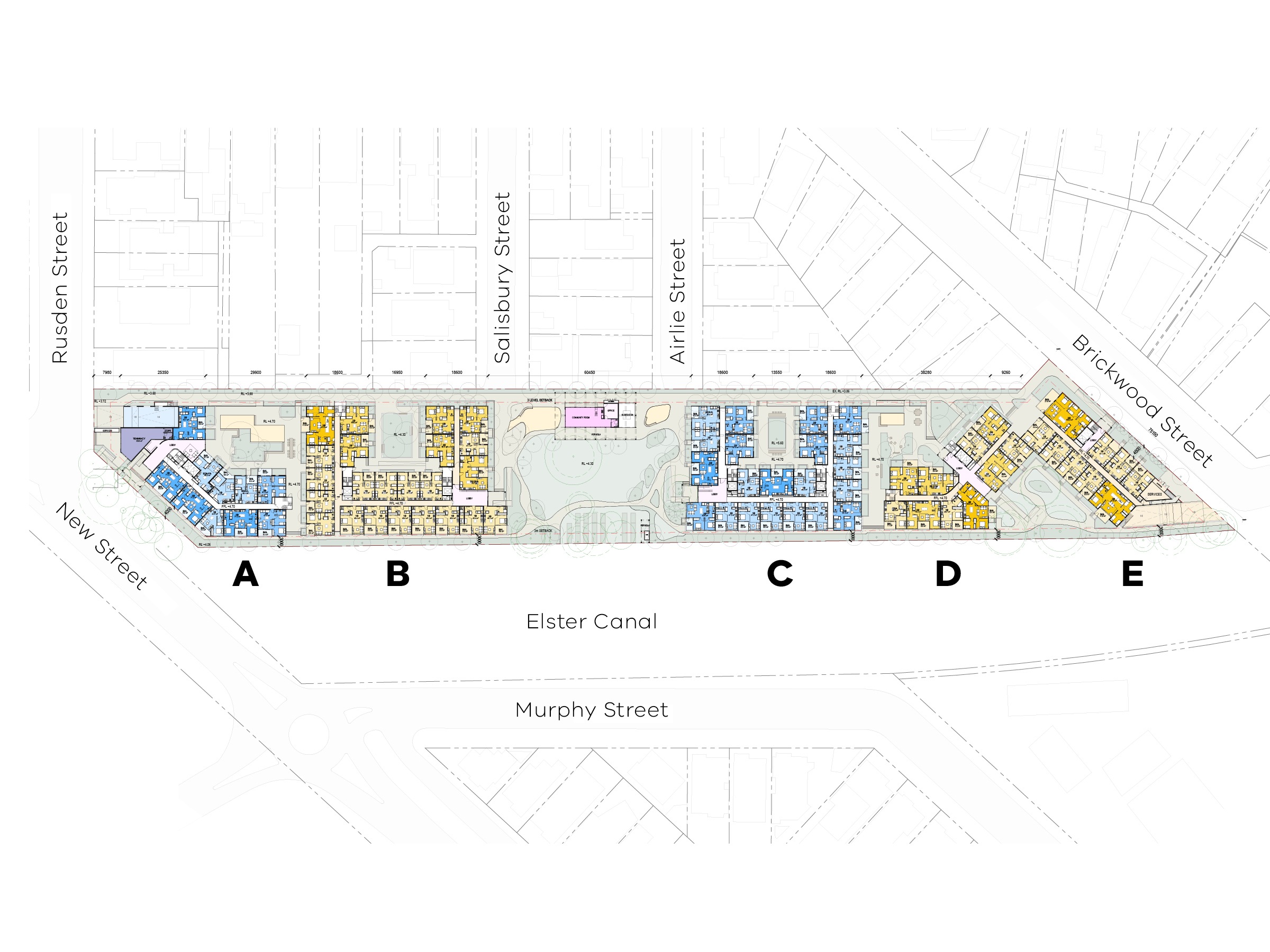 Diagram showing the different types of dwellings and spaces in the new development.