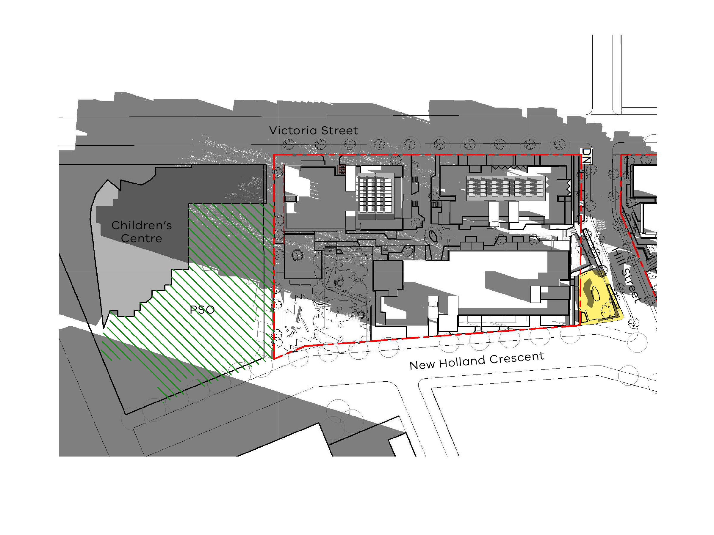 Diagram showing the shadows created by the south site of the new development in June at 9am