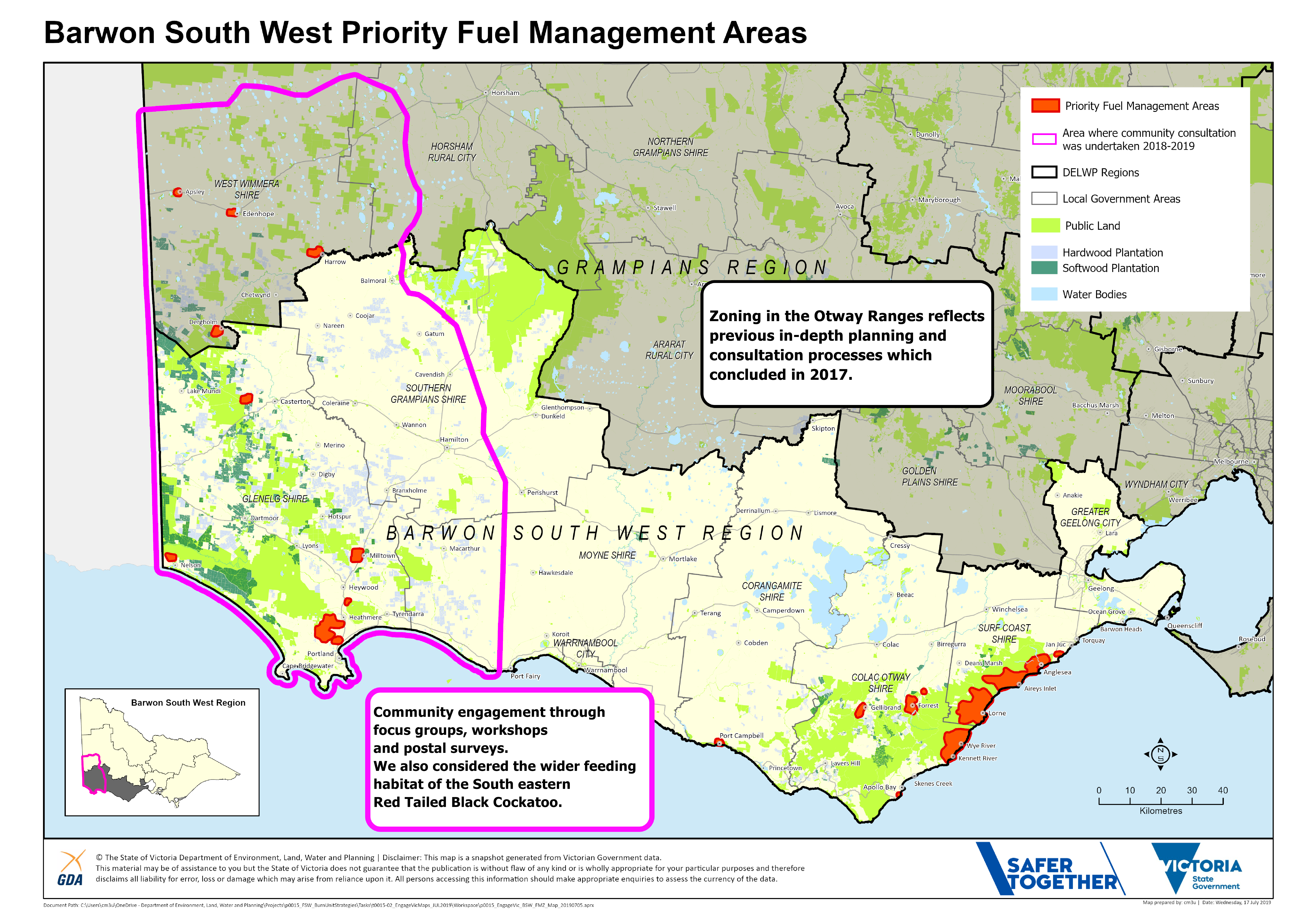 A map of the Priority Fuel Management Areas in Barwon South West region