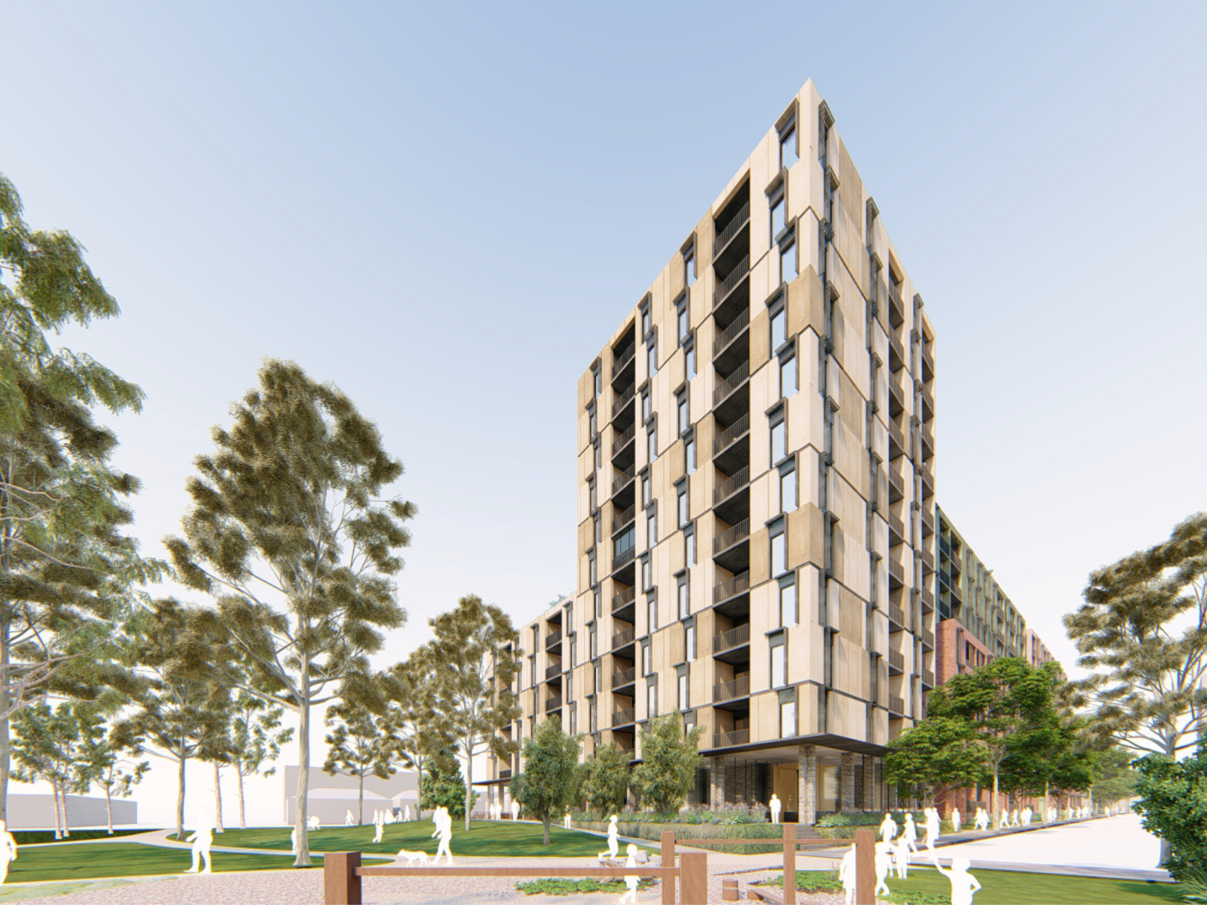 Artist impression looking at the new development from the park at Princes Street