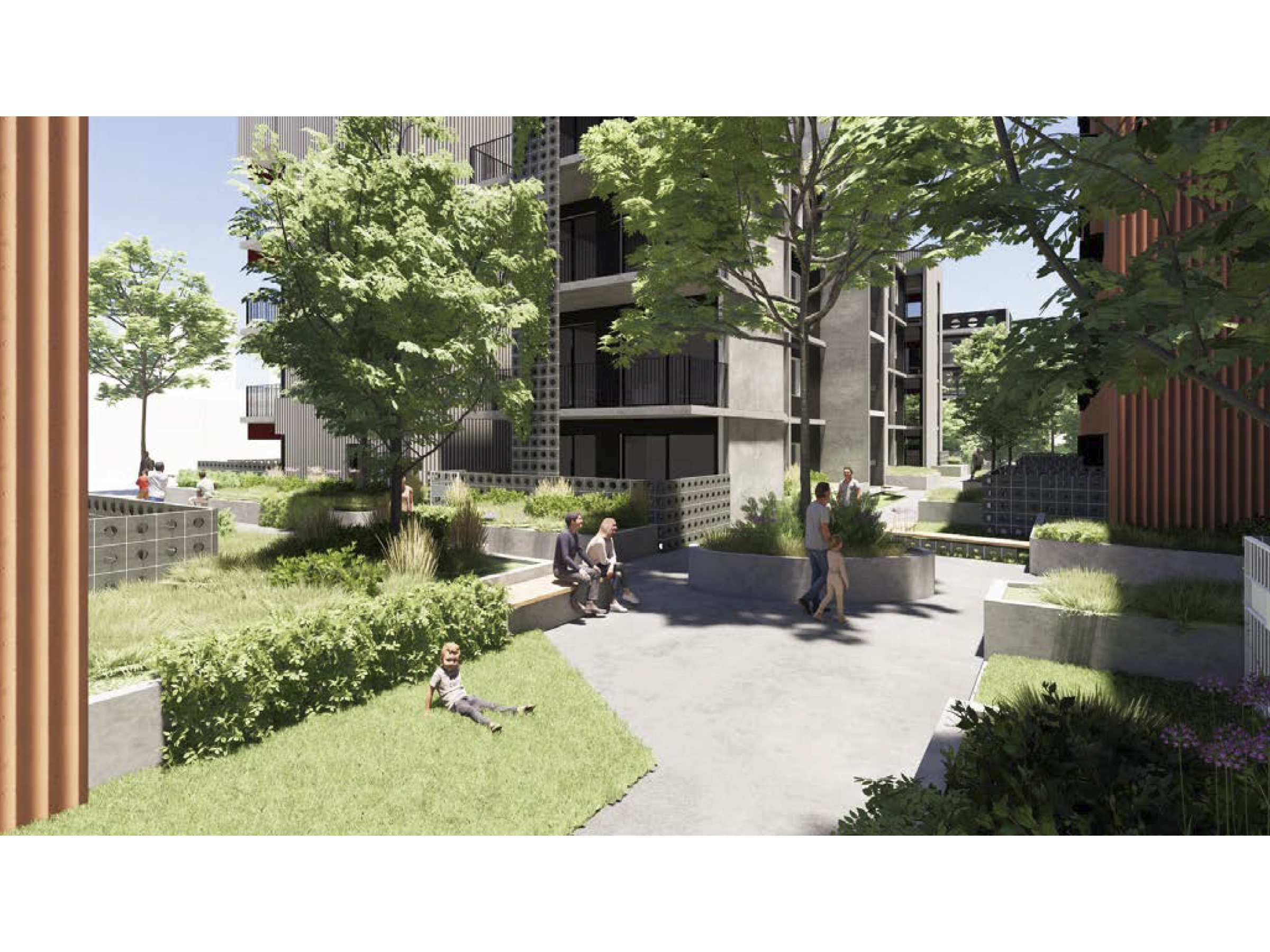 Artist impression of the new development showing the internal courtyard