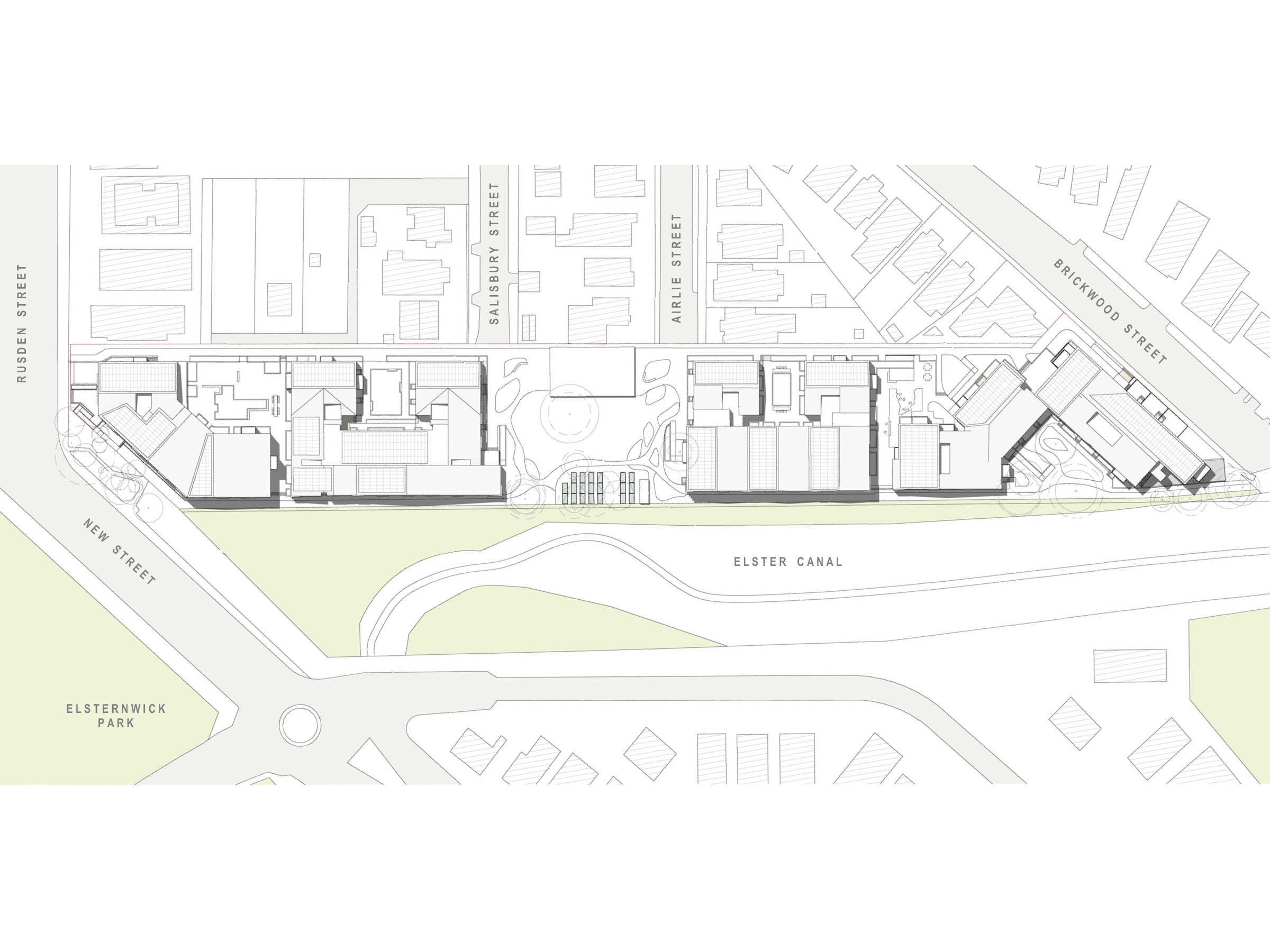 Diagram showing the shadows created by the new development in December at 12pm