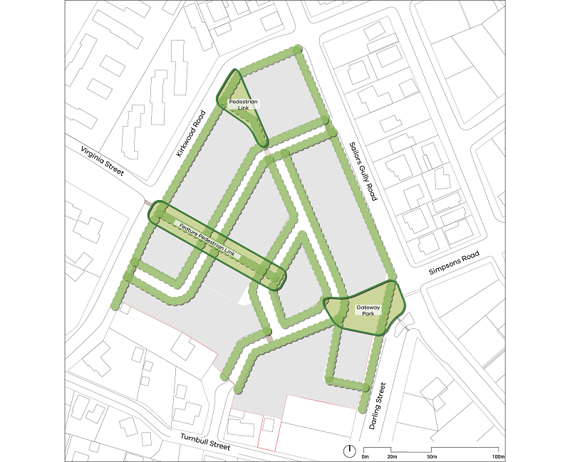 The proposed masterplan shows the subject site located between Kirkwood Road (north-west), Sailors Gully Road (east), Darling Street (south/east) and the existing housing along Turnbull Street (south). A gateway Park is proposed on the corner of Sailors Gully Road and Darling Street. Trees align the proposed street, pedestrian links and the site boundaries along Kirkwood Road, Sailors Gully Road and Darling Street.