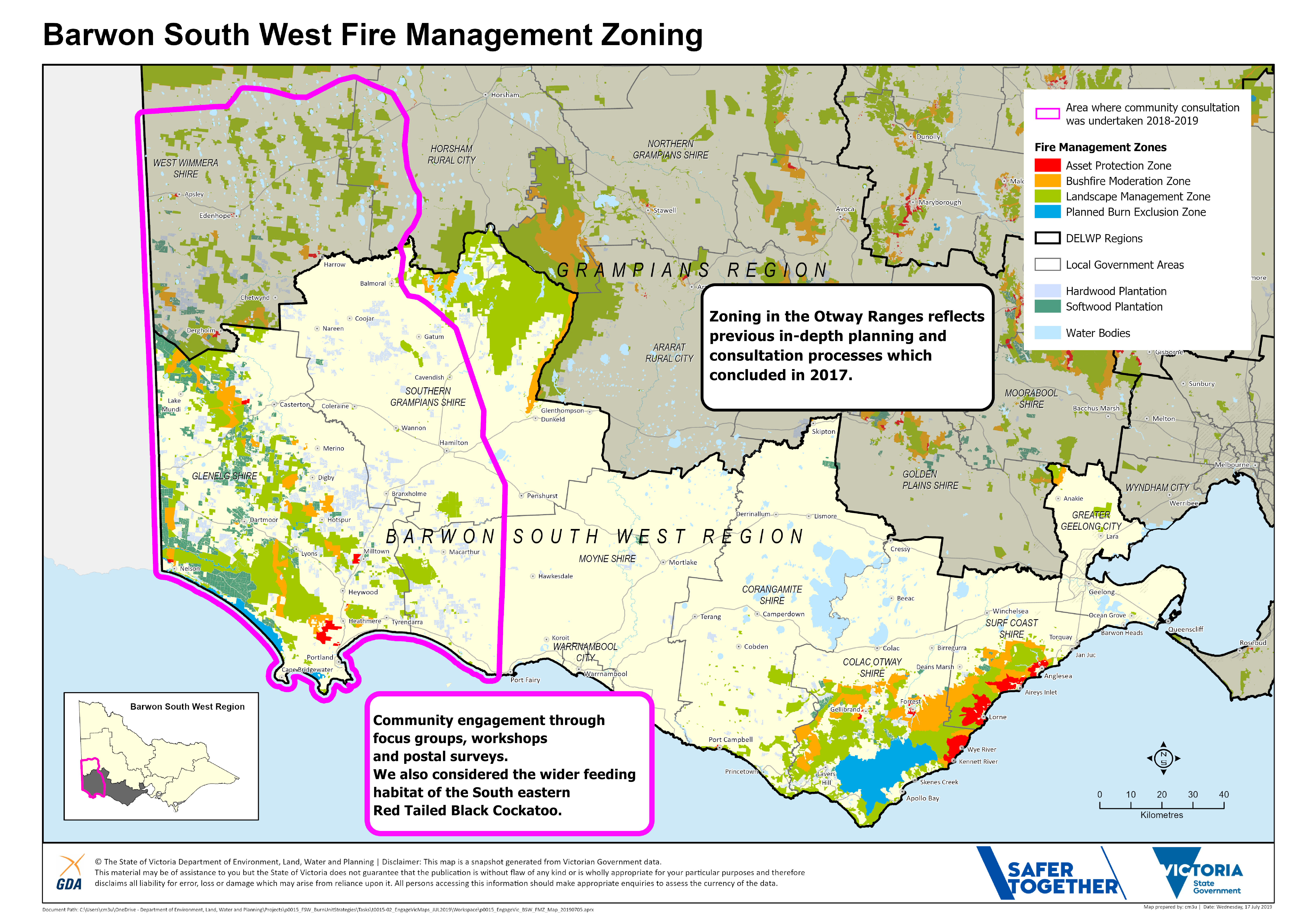 A map of the Fire Management Zones (public land) in Barwon South West region