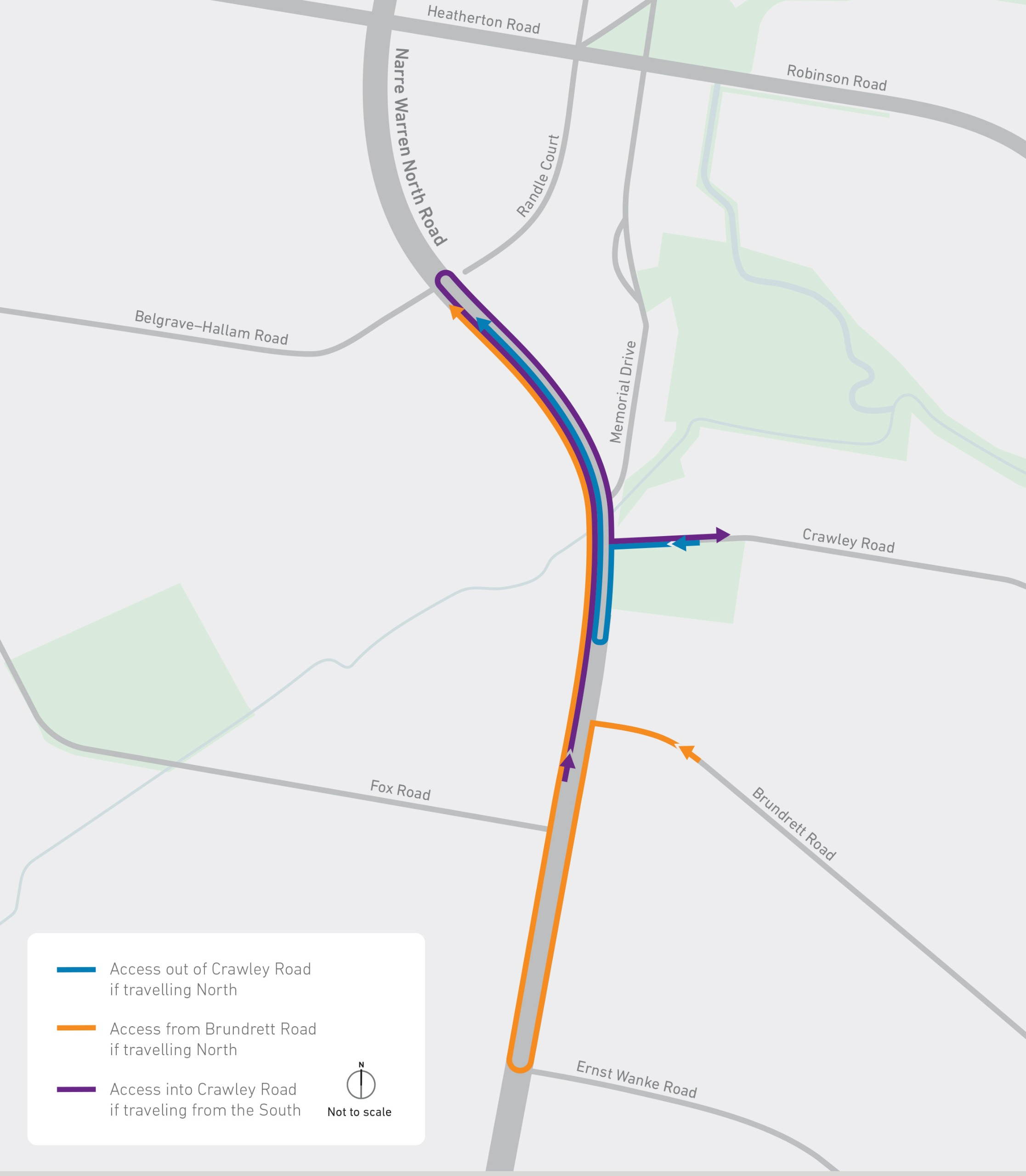 Map detailing detour routes for the access changes on Narre Warren North Road at Brundrett and Crawley roads.
